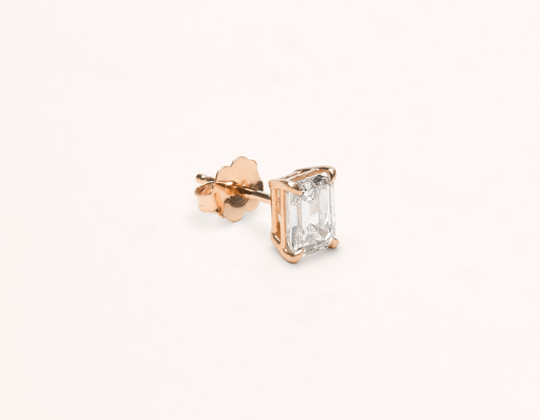 Vrai & Oro 1.0 carat Emerald Diamond stud earring 18k solid gold simple modern, 18K Rose Gold