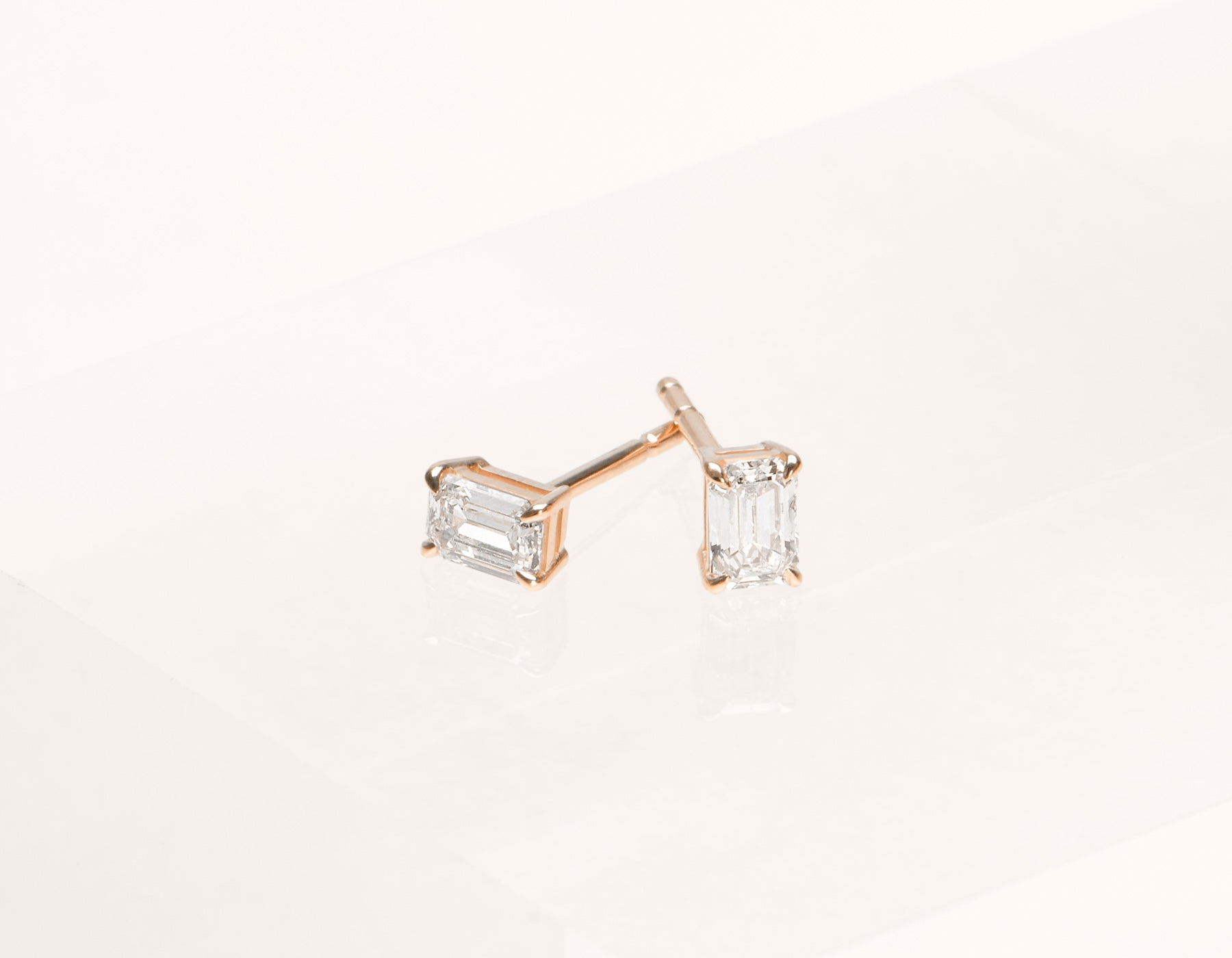 Vrai and oro 1.0 ct Emerald Diamond earrings 18k Solid gold classic minimalist, 18K Rose Gold