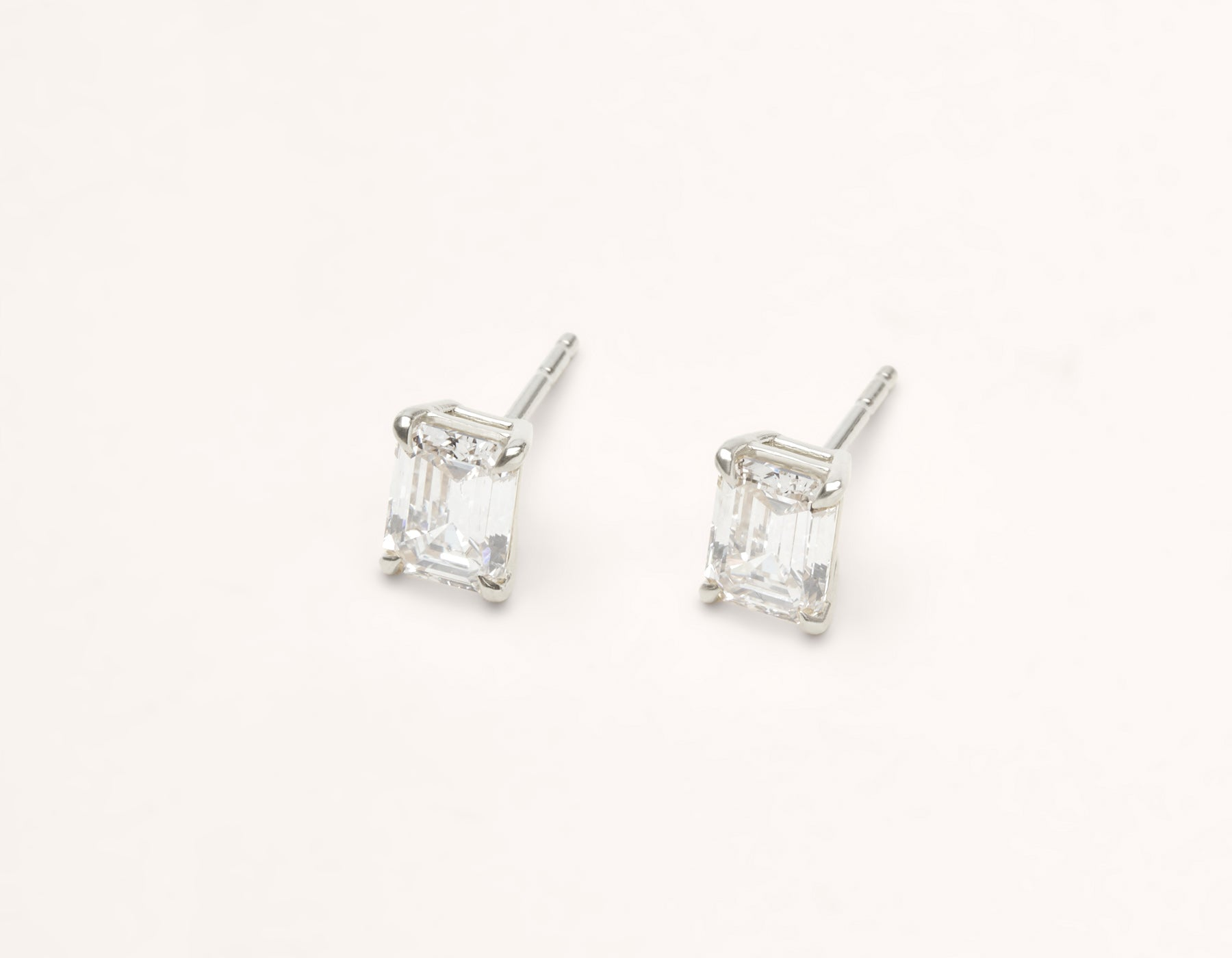 modern minimalist 18k solid gold 1 ct Emerald Studs diamond earrings by Vrai & Oro, 18K White Gold