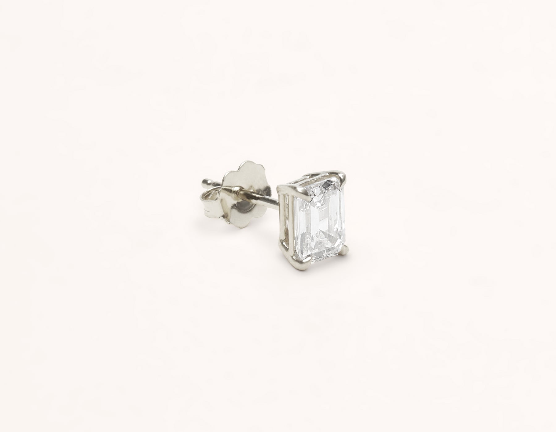 Vrai & Oro 1.0 carat Emerald Diamond stud earring 18k solid gold simple modern, 18K White Gold
