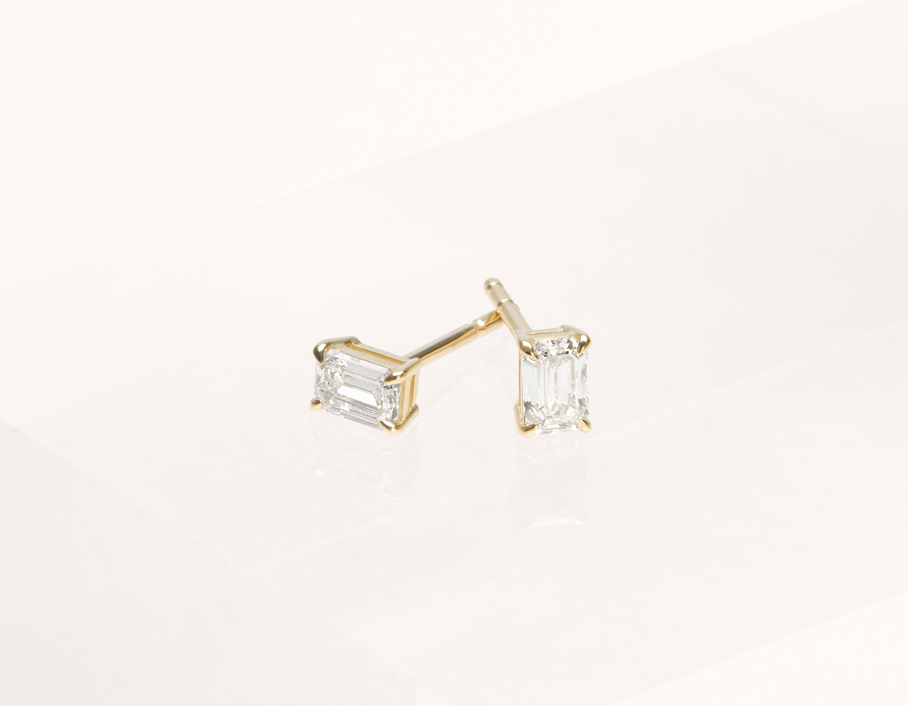 Vrai and oro 1.0 ct Emerald Diamond earrings 18k Solid gold classic minimalist, 18K Yellow Gold