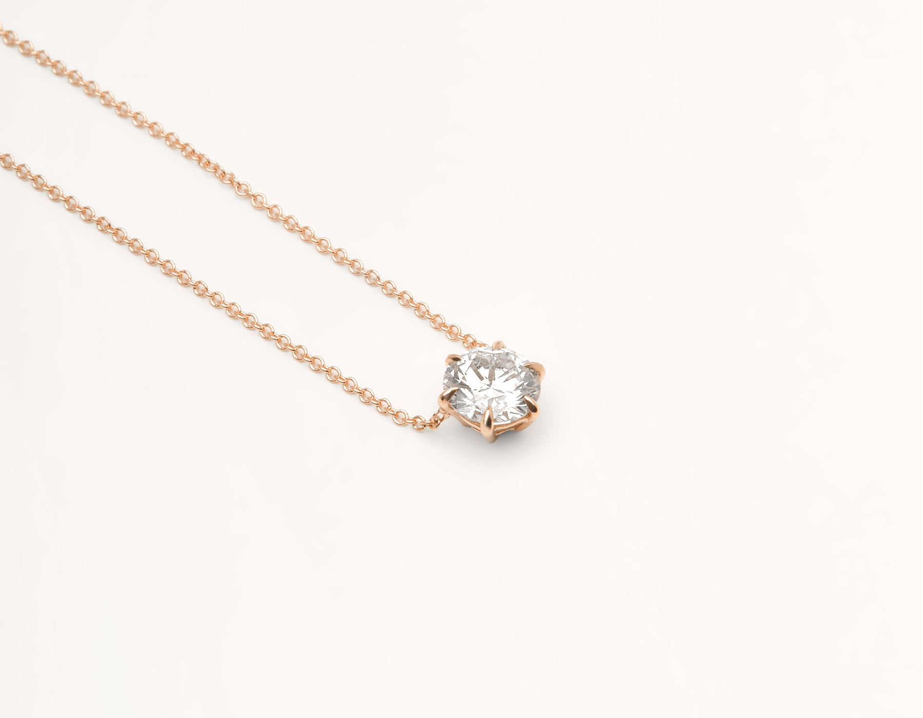Classic minimalist 18k solid gold 1.0 carat Round Brilliant Cut Diamond Necklace on delicate chain Vrai & Oro, 18K Rose Gold