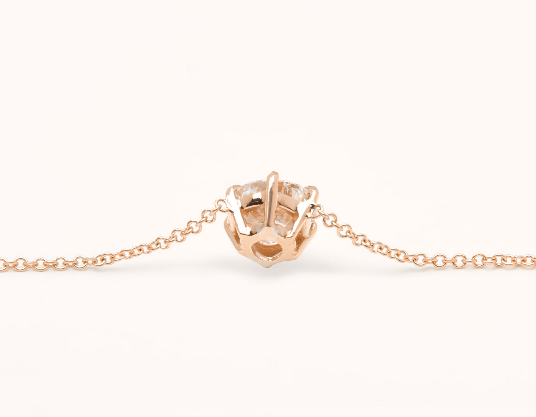Simple modern 18k solid gold 1.0 ct Round Brilliant Diamond Necklace 6 prong setting on thin chain with lobster clasp Vrai and Oro, 18K Rose Gold