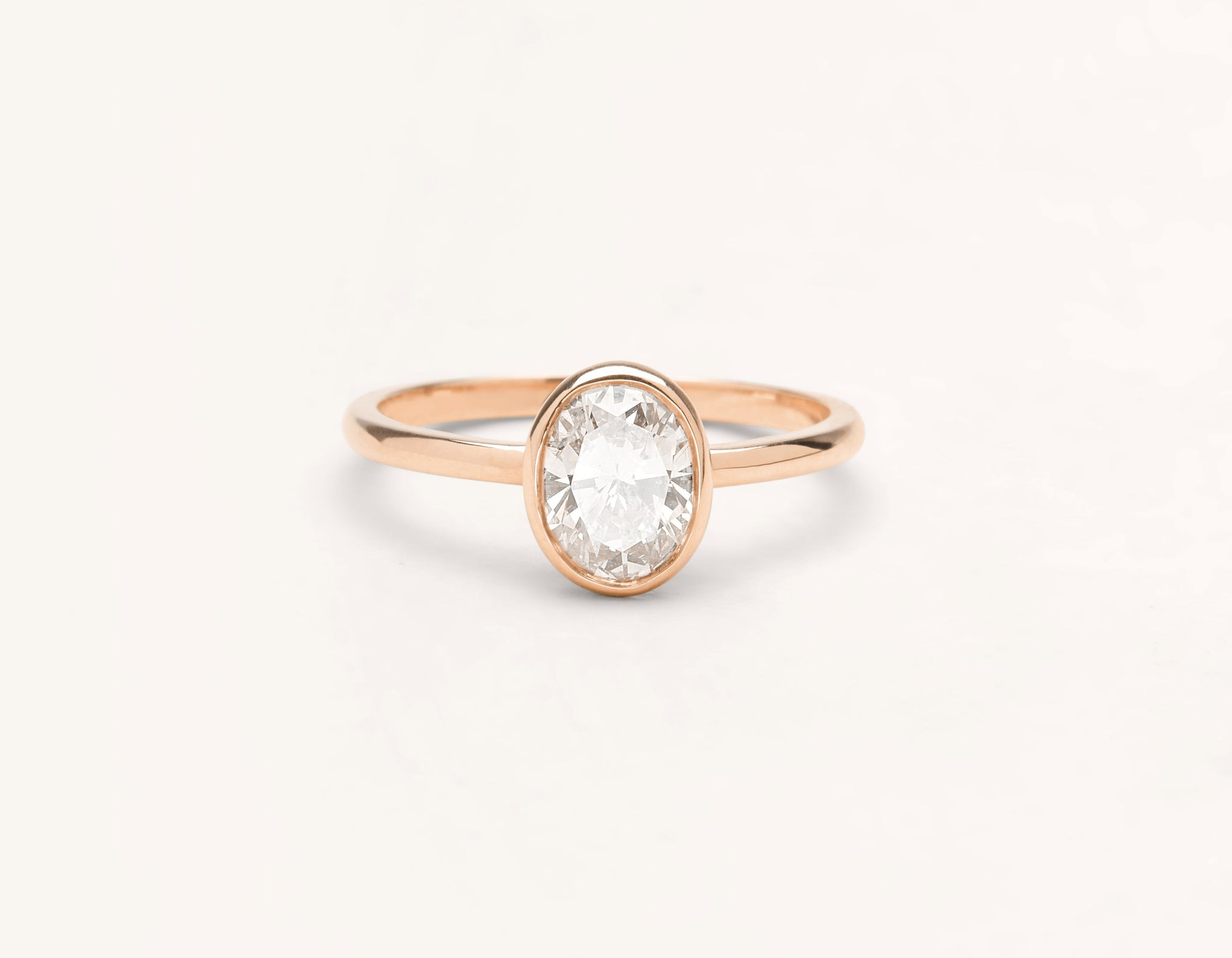 Minimalist 18k solid rose gold Oval Bezel engagement ring 1 ct diamond Vrai and Oro