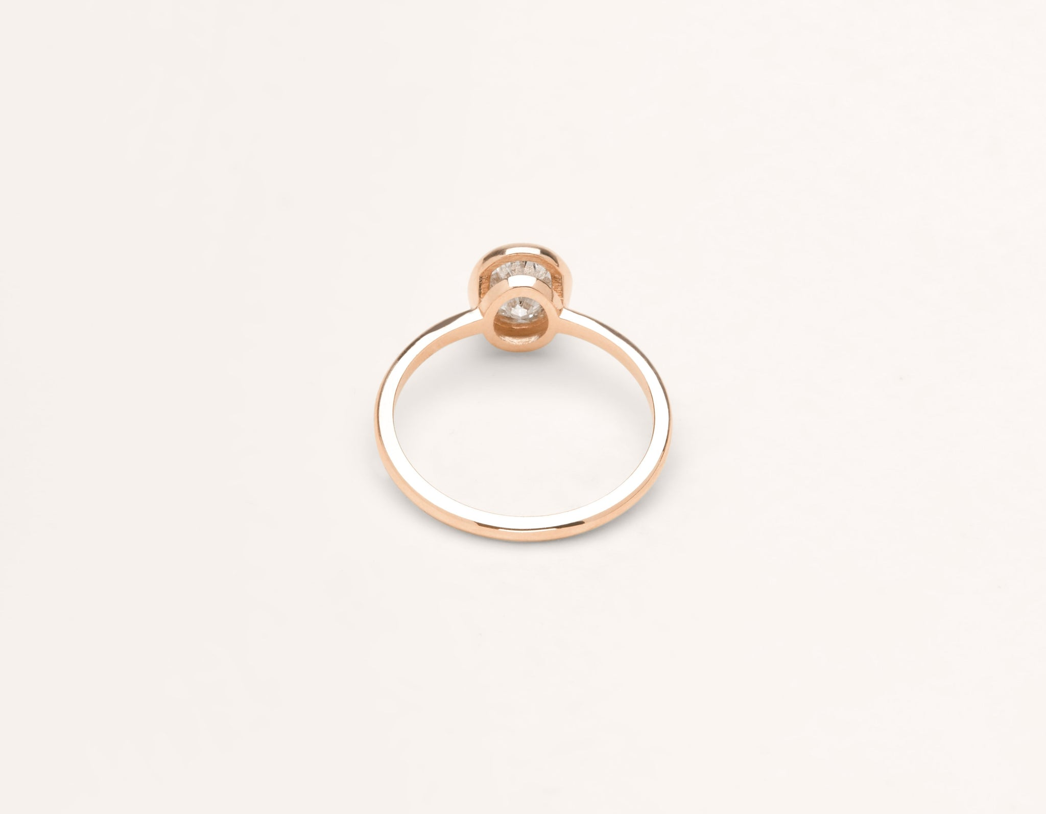 Vrai & Oro 18k solid rose gold Diamond engagement ring Oval Bezel simple classic band bezel setting