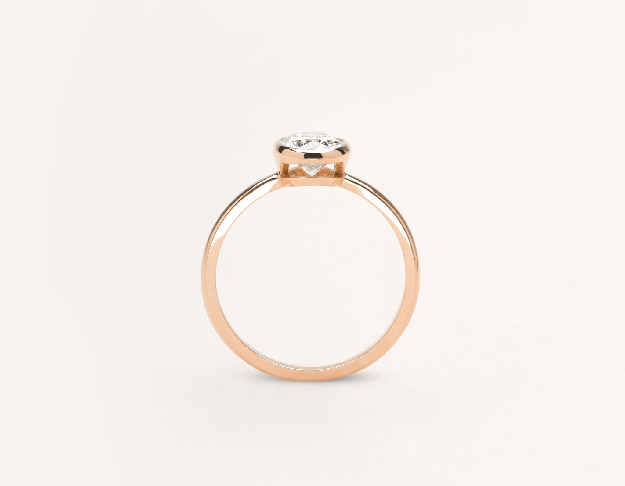 Vrai and Oro modern classic Oval Bezel diamond engagement ring 18k solid rose gold sustainable jewelry