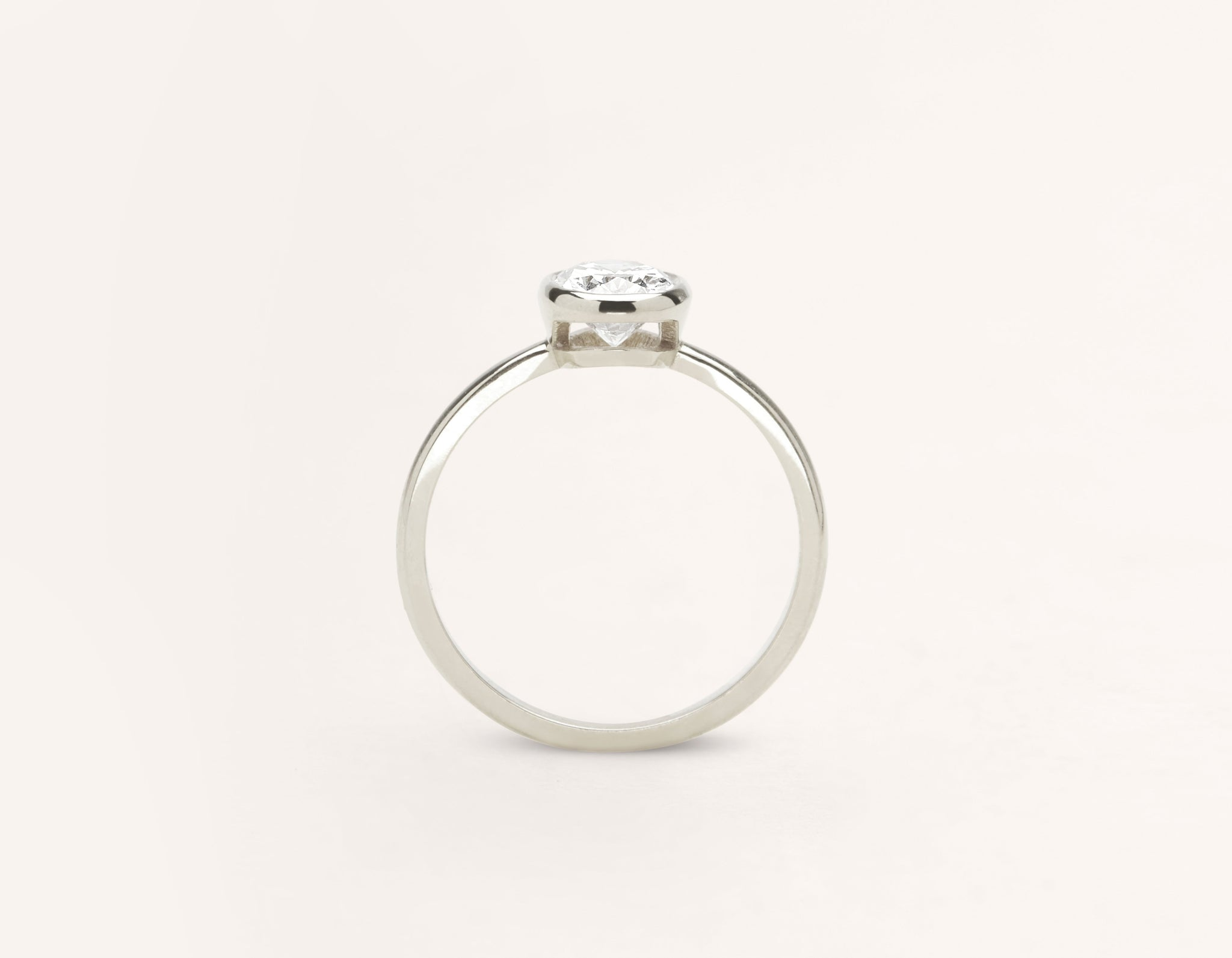 Vrai and Oro modern classic Oval Bezel diamond engagement ring 18k solid white gold sustainable jewelry