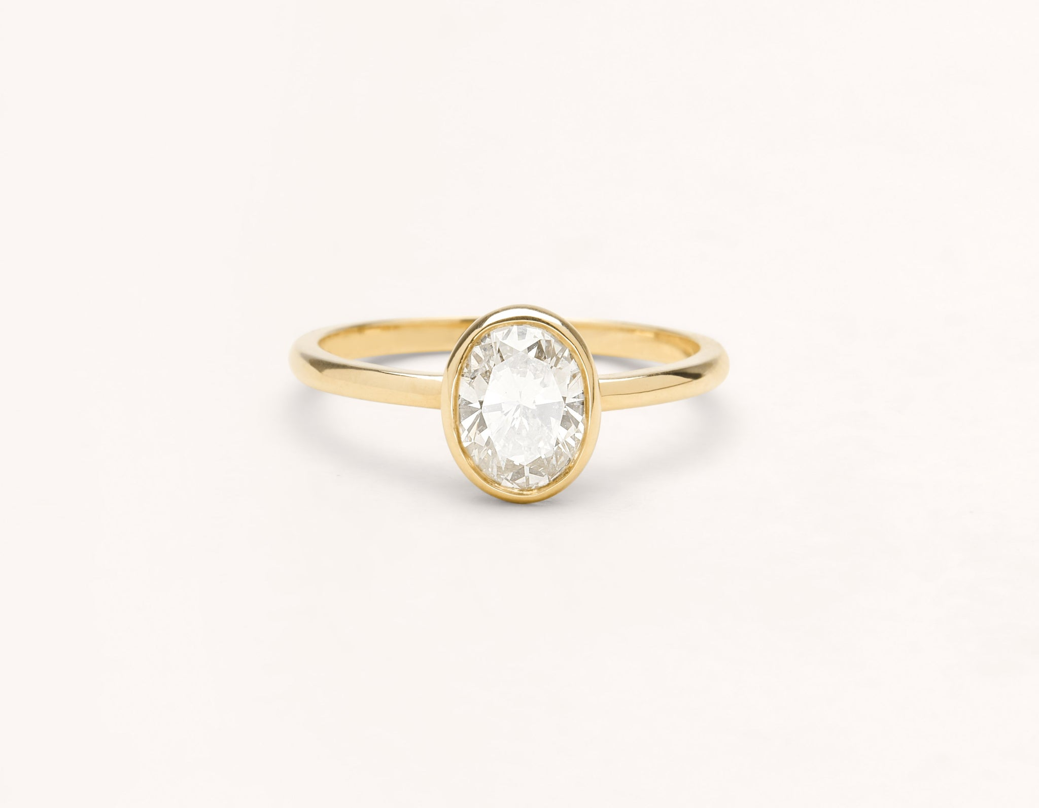 Minimalist 18k solid yellow gold Oval Bezel engagement ring 1 ct diamond Vrai and Oro