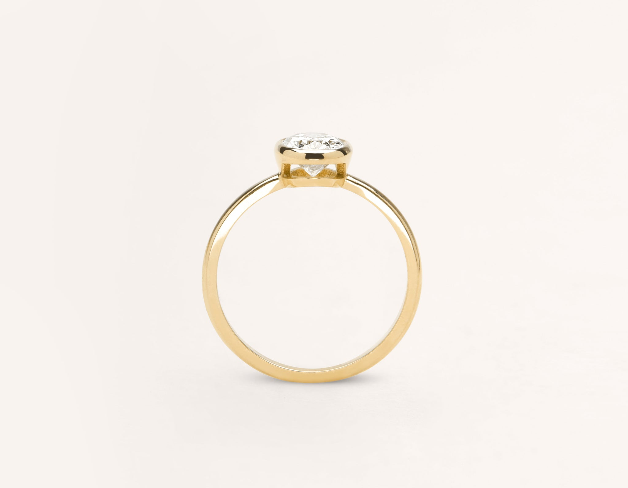 Vrai and Oro modern classic Oval Bezel diamond engagement ring 18k solid yellow gold sustainable jewelry