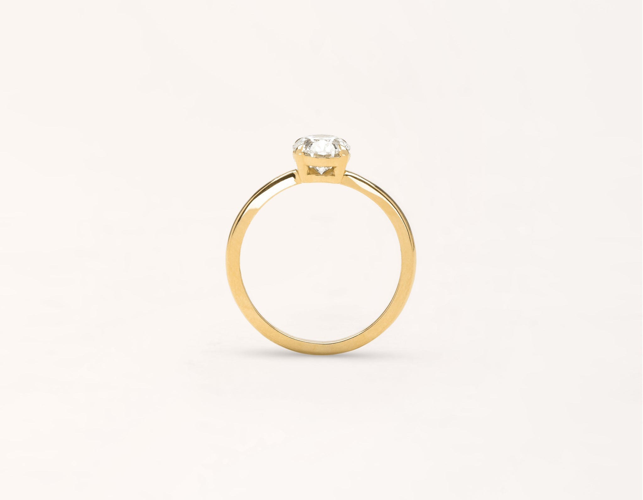 Vrai and Oro modern classic The Oval diamond engagement ring 18k solid yellow gold sustainable jewelry
