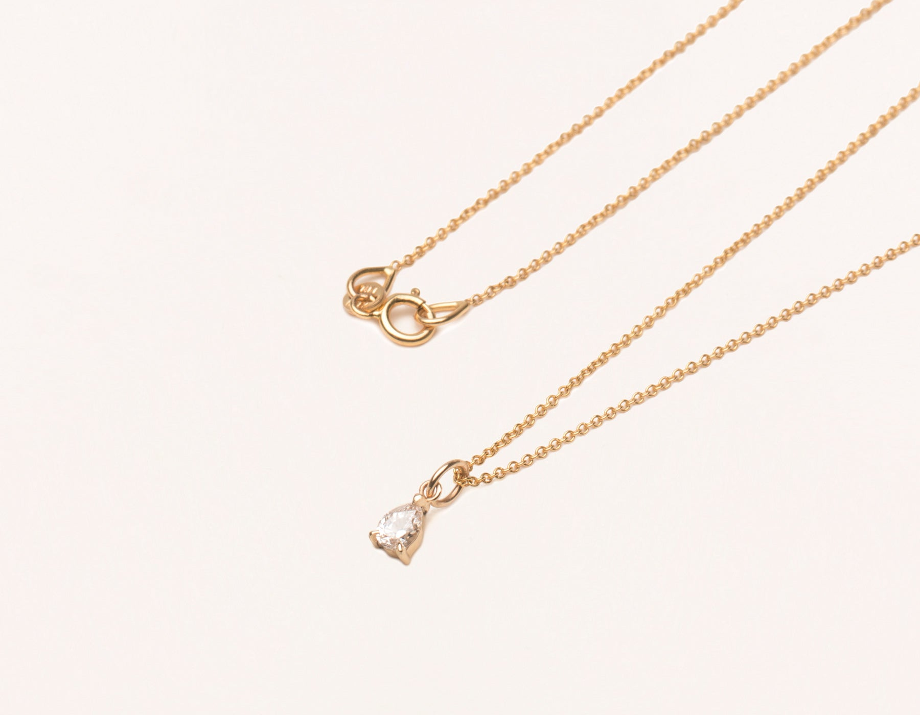 Modern minimalist Pear Diamond Pendant Necklace charm on thin oval link chain 14k yellow gold spring ring clasp Vrai and Oro, 14K Rose Gold