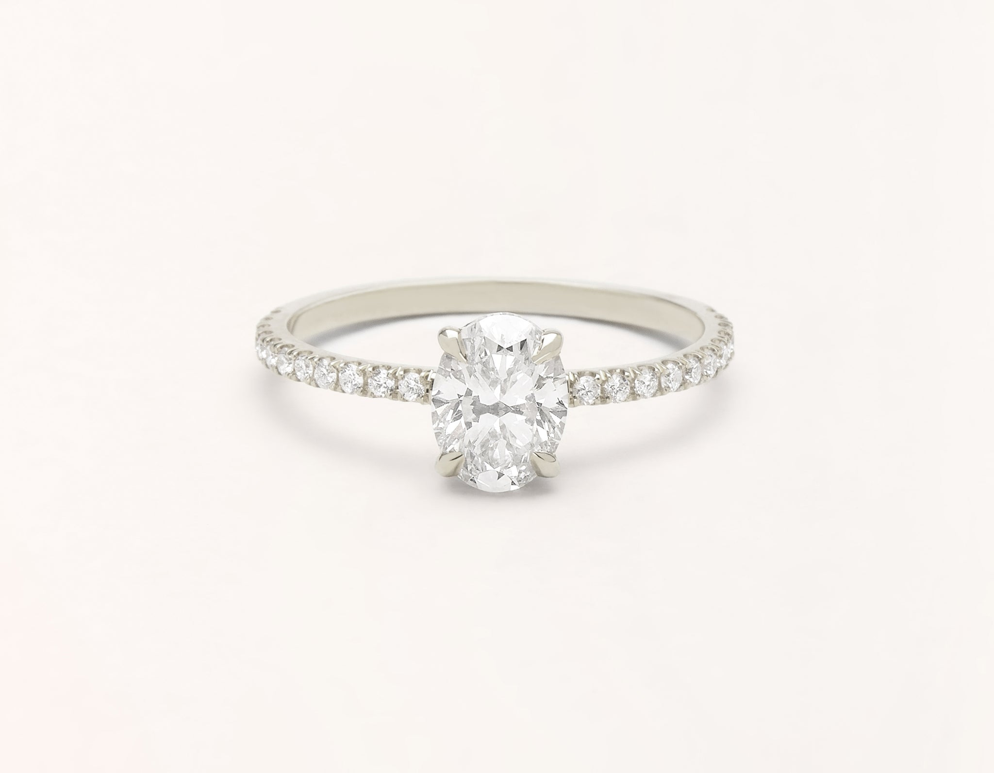 Minimalist 18k solid white gold The Oval pave engagement ring 1 ct diamond Vrai and Oro