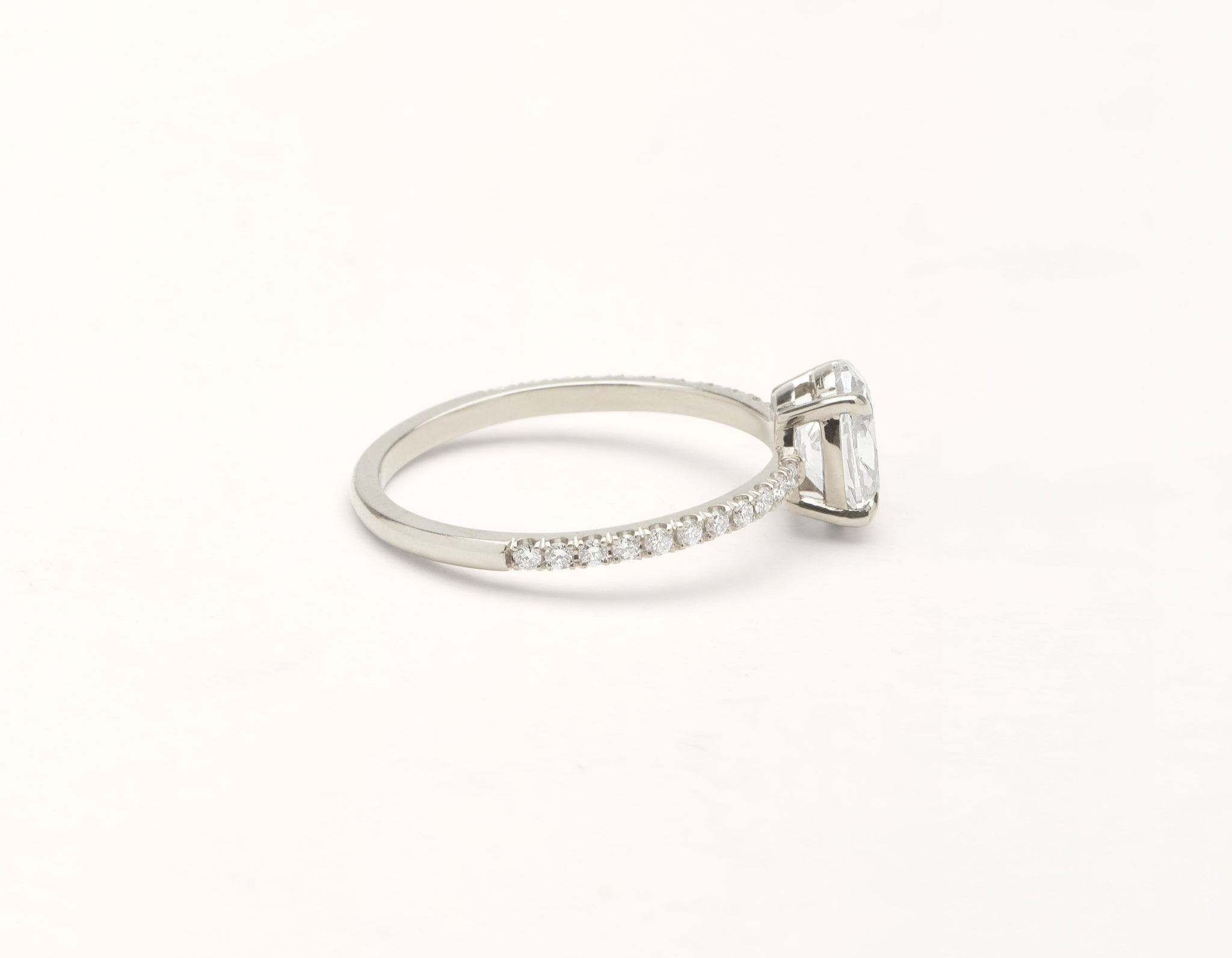 Simple modern 18k solid white gold 1 carat Oval diamond pave engagement ring Vrai & Oro