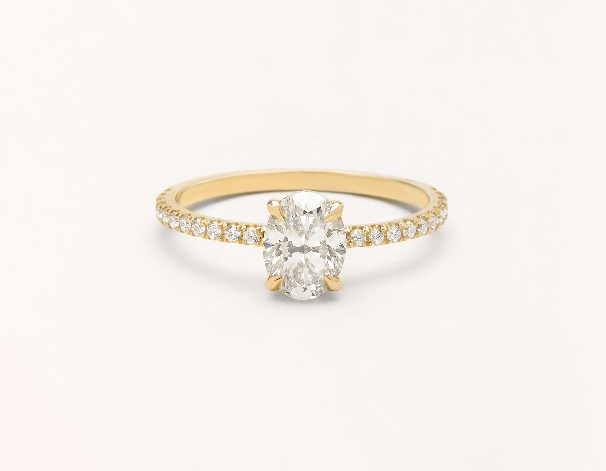 Minimalist 18k solid yellow gold The Oval pave engagement ring 1 ct diamond Vrai and Oro