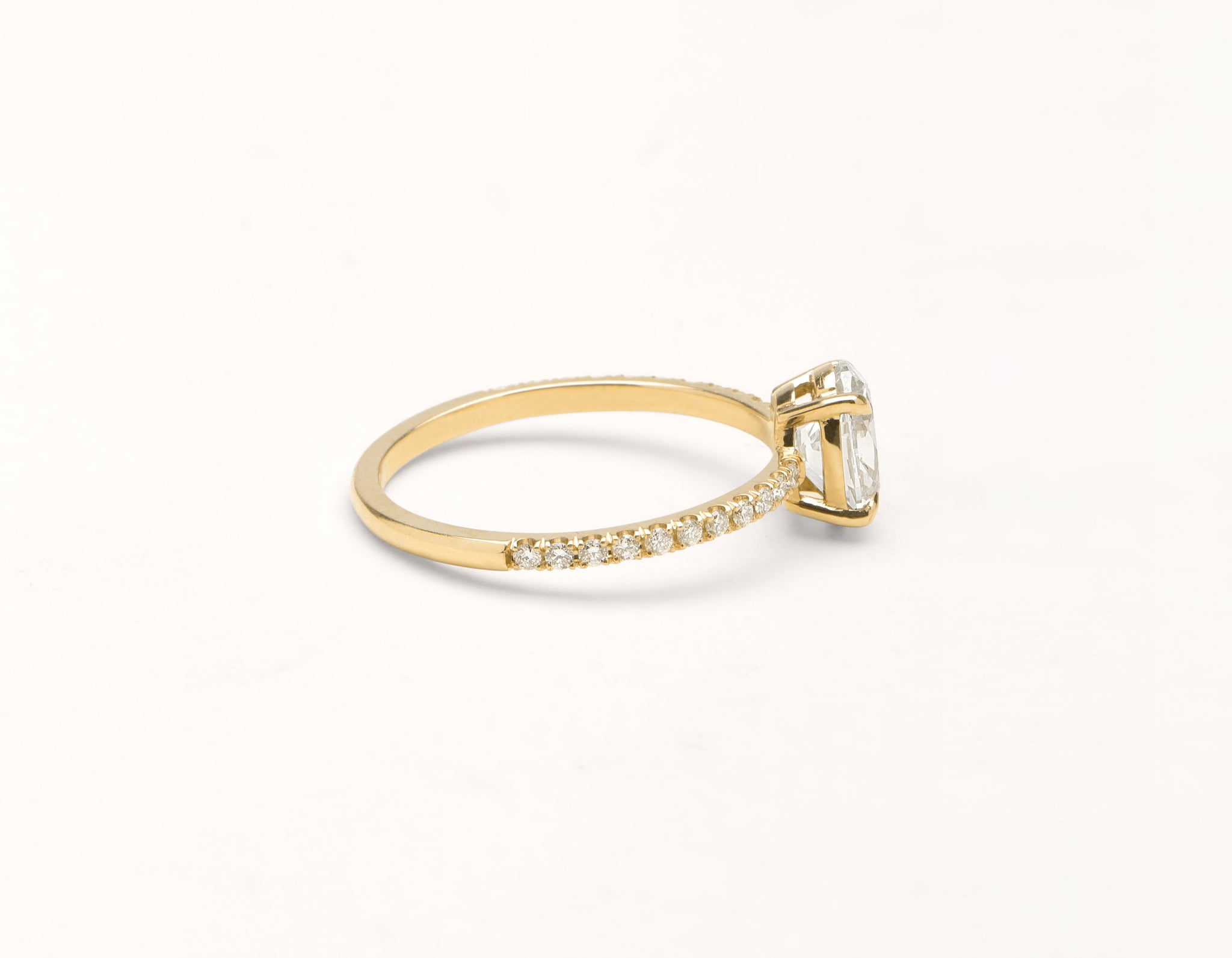 Simple modern 18k solid yellow gold 1 carat Oval diamond pave engagement ring Vrai & Oro