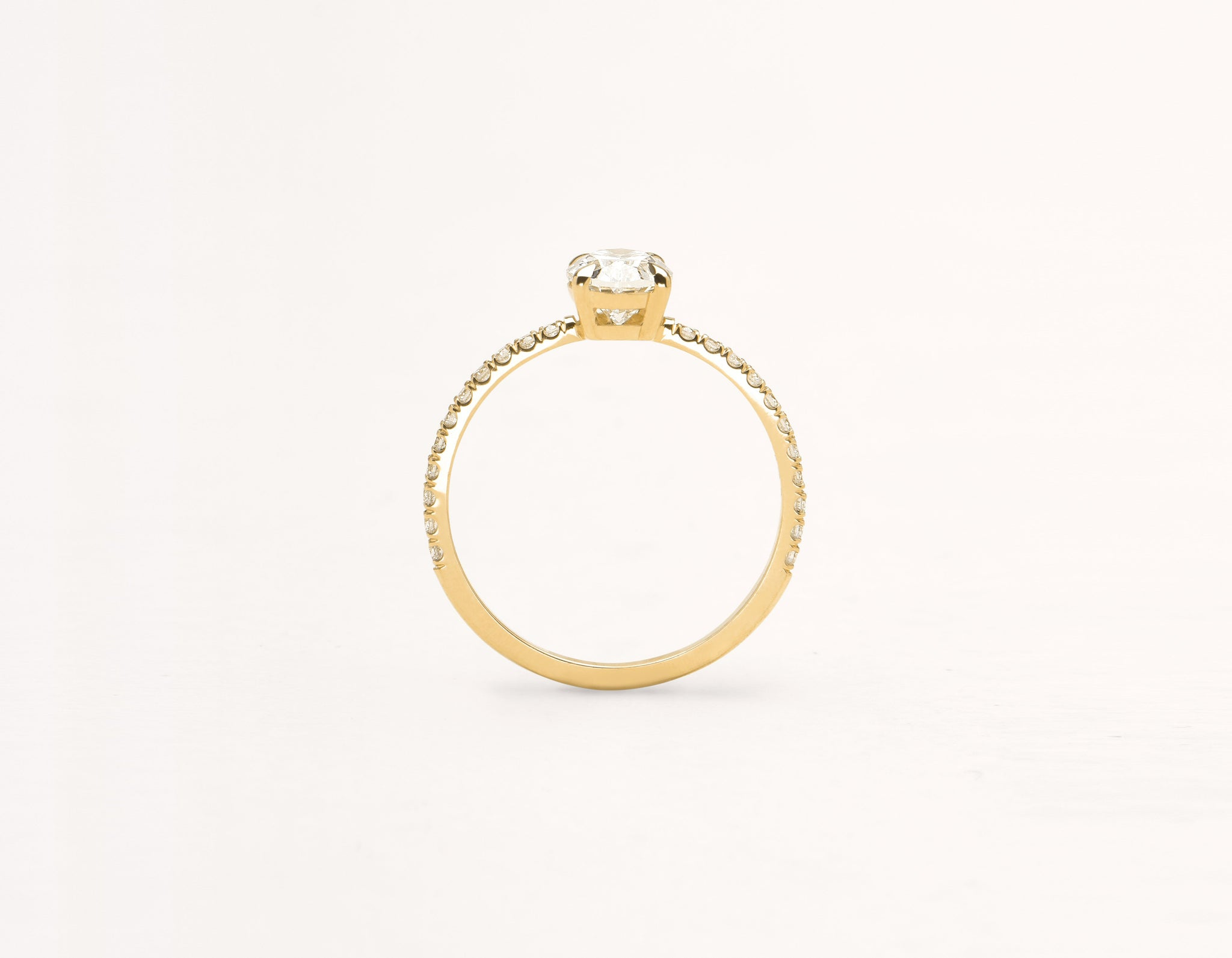 Vrai and Oro classic The Oval diamond pave engagement ring 18k solid yellow gold sustainable jewelry