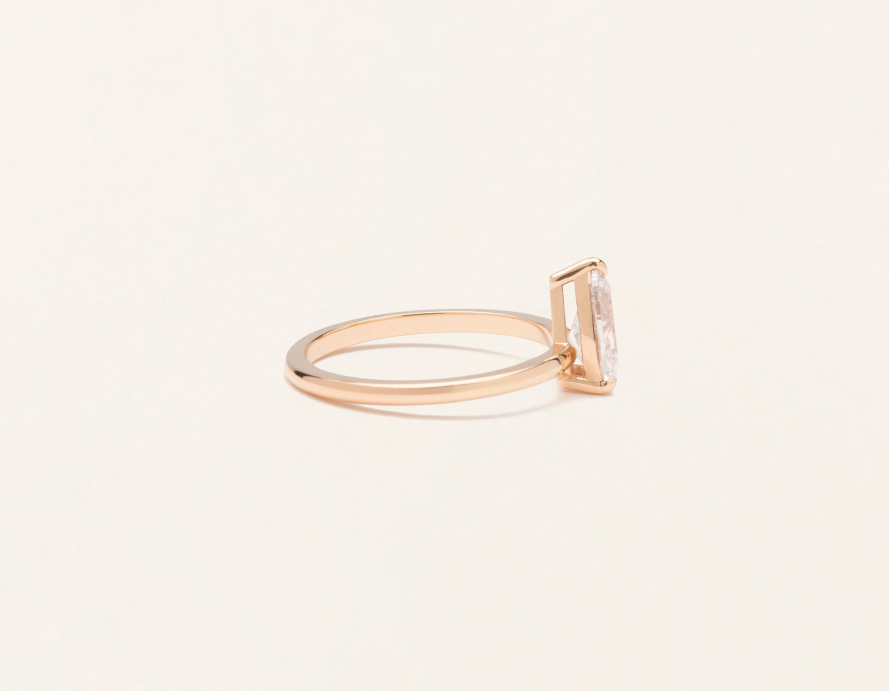 Simple modern 18k solid rose gold 1 carat pear diamond engagement ring Vrai & Oro