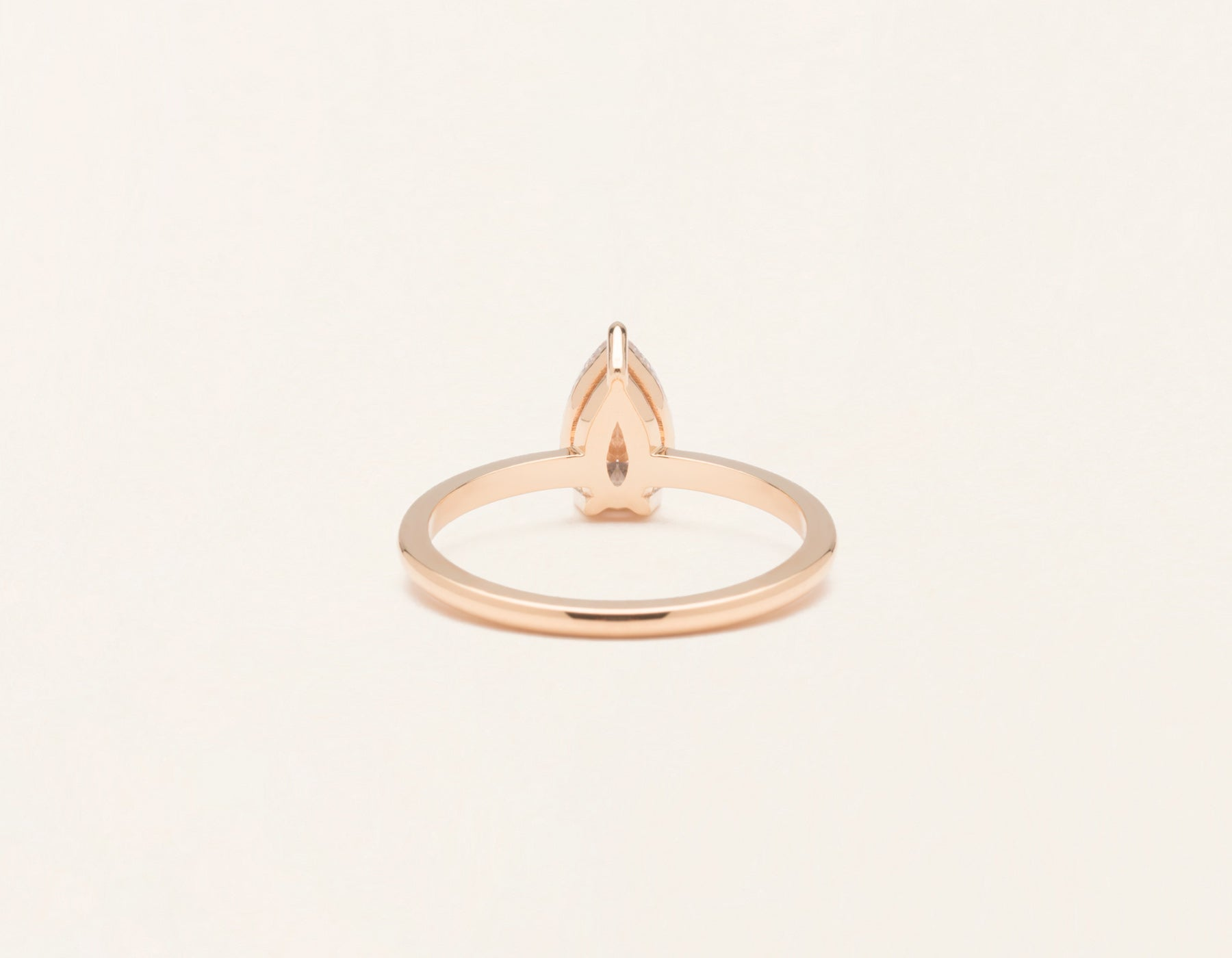 Vrai & Oro 18k solid rose gold Diamond engagement ring The pear simple classic band