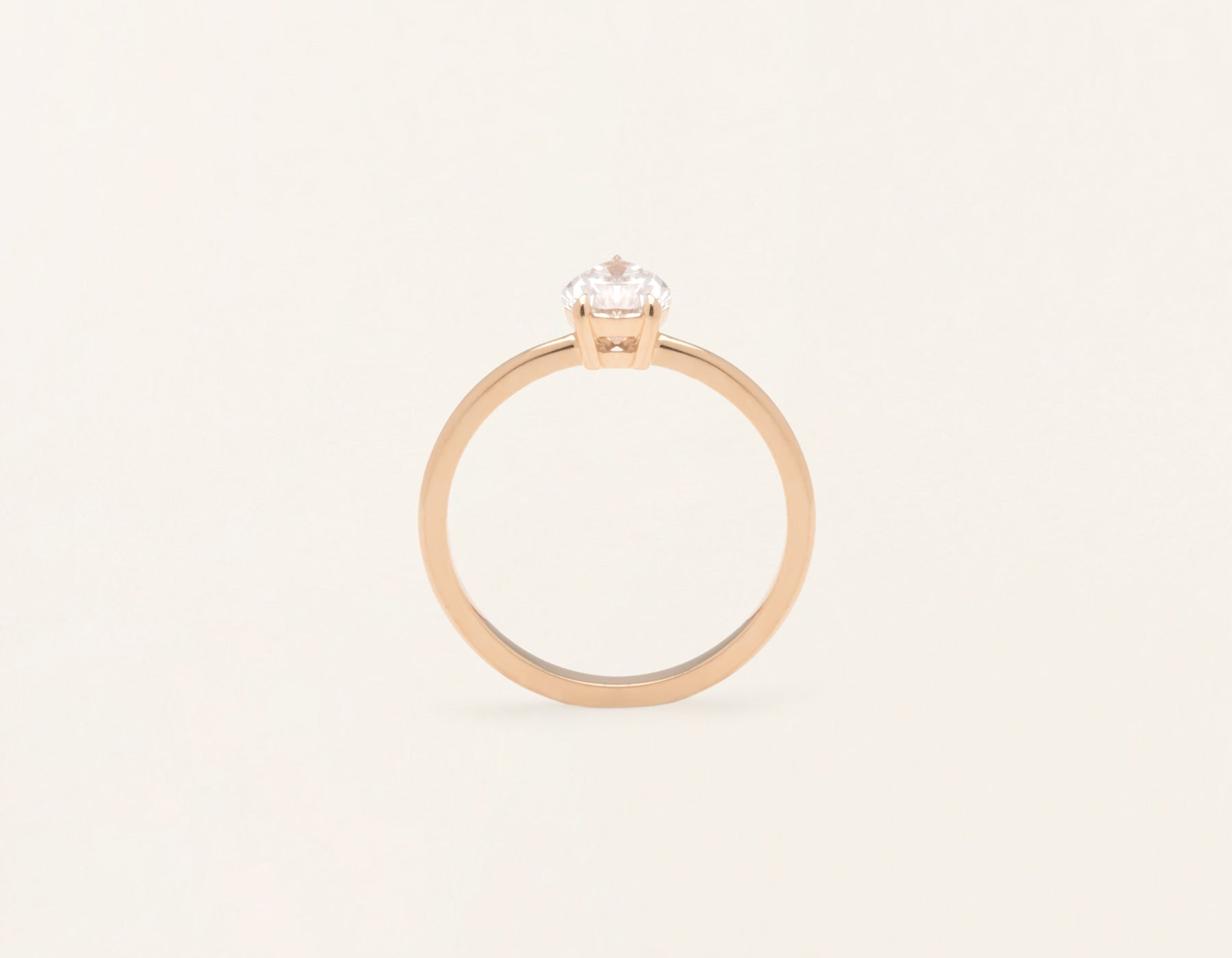 Vrai and Oro modern classic The pear diamond engagement ring 18k solid rose gold sustainable jewelry