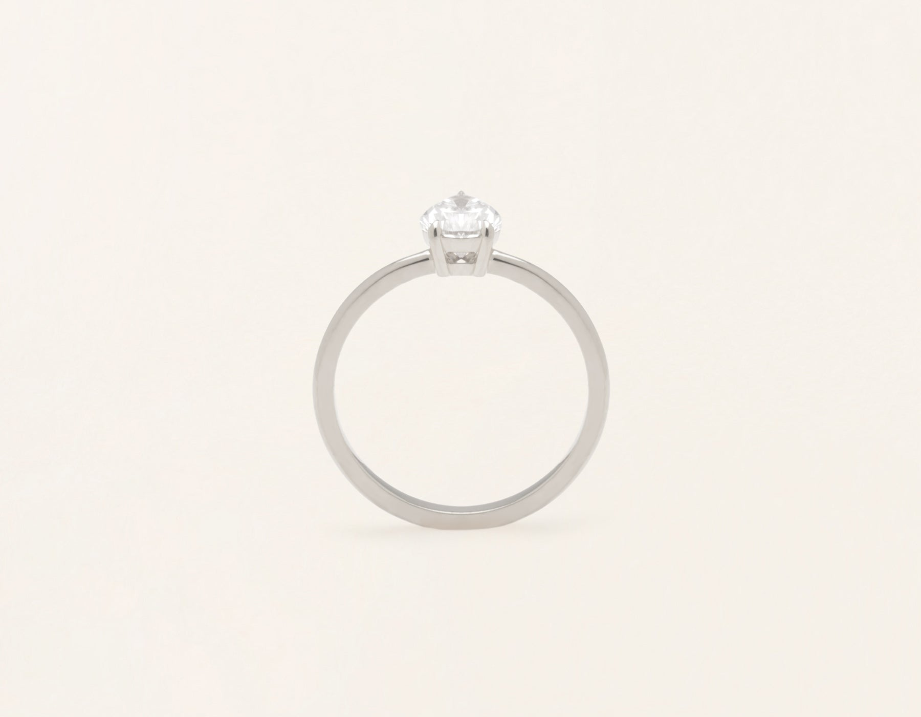 Vrai and Oro modern classic The pear diamond engagement ring 18k solid white gold sustainable jewelry