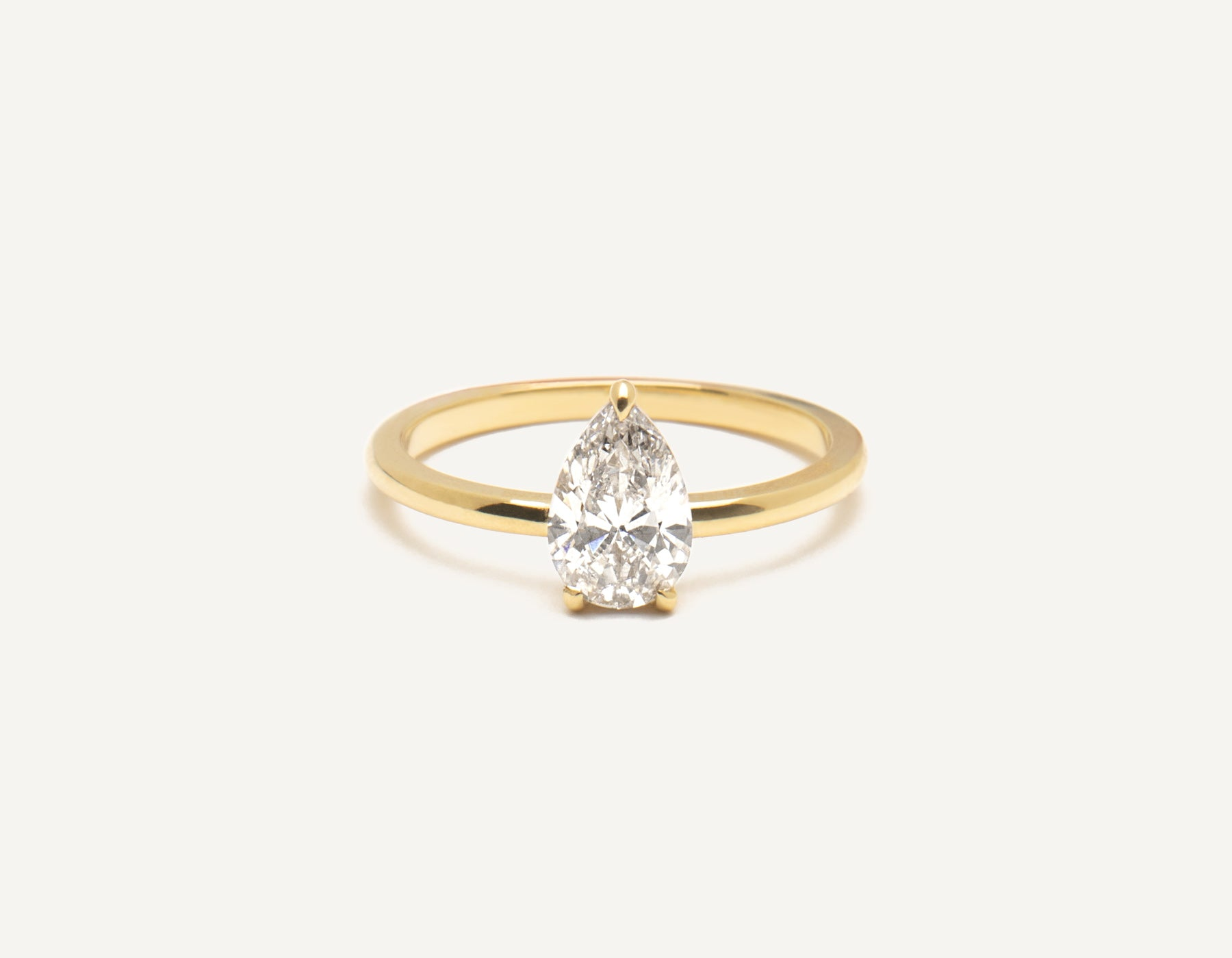 Minimalist 18k solid yellow gold The pear engagement ring 1 ct diamond Vrai and Oro