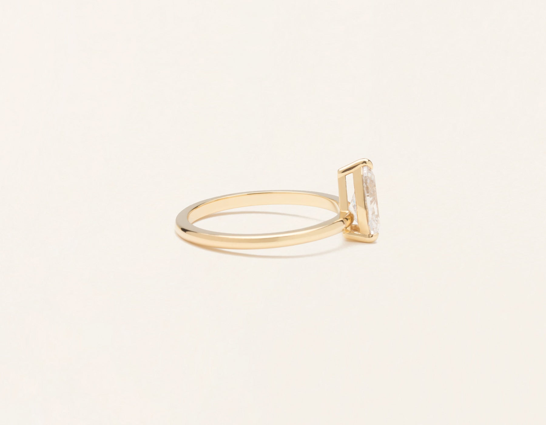 Simple modern 18k solid yellow gold 1 carat pear diamond engagement ring Vrai & Oro
