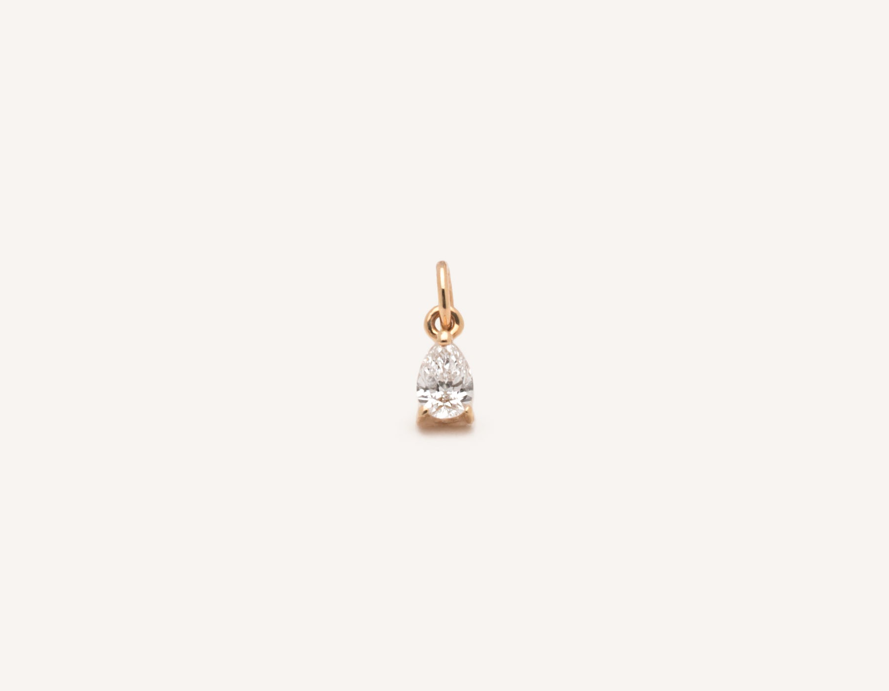 Simple classic Pear Diamond Pendant .15 carat charm 14k solid gold Vrai and Oro minimalist jewelry, 14K Rose Gold