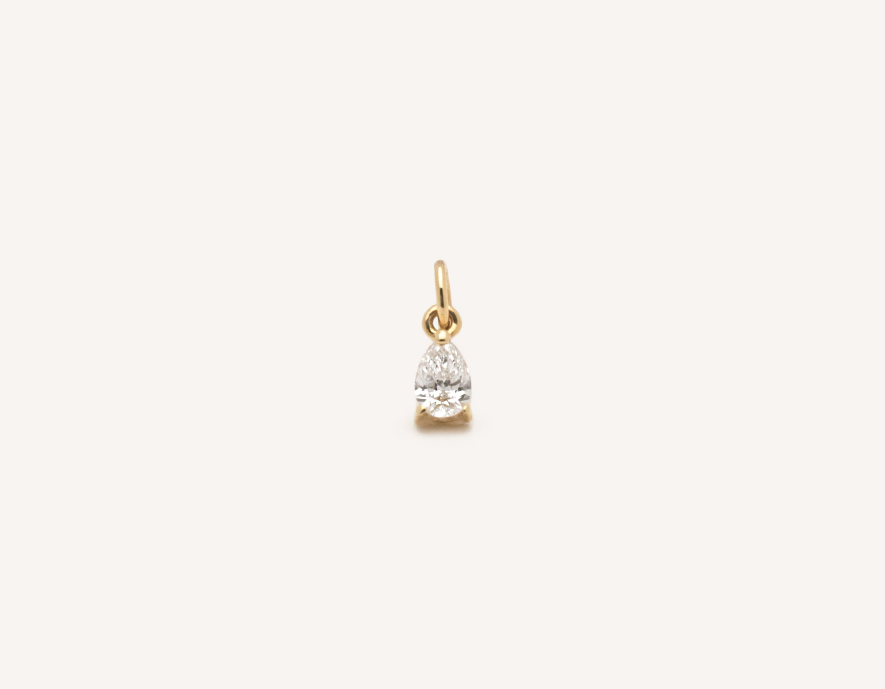 Simple classic Pear Diamond Pendant .15 carat charm 14k solid gold Vrai and Oro minimalist jewelry, 14K Yellow Gold