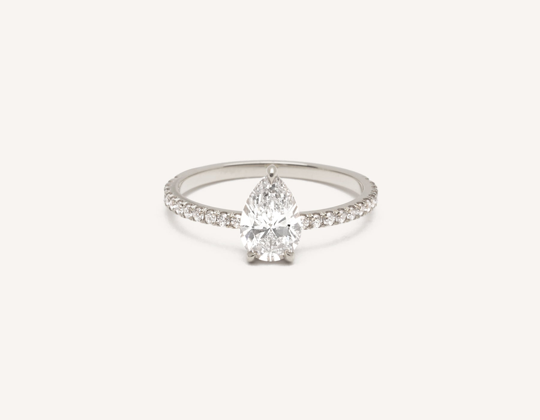 Minimalist platinum The pear Pave engagement ring 1 ct diamond Vrai and Oro