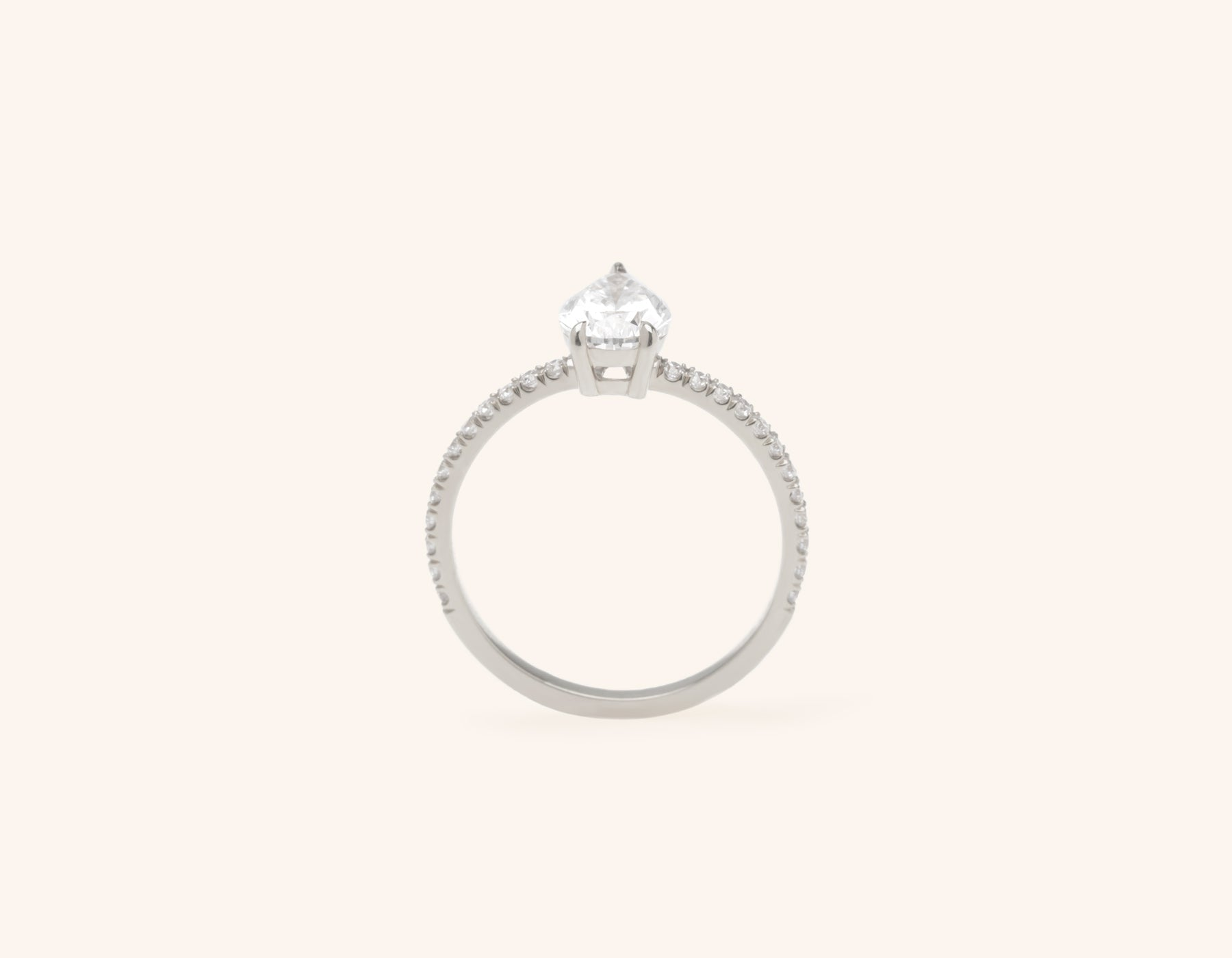 Vrai & Oro platinum Diamond engagement ring The pear pave simple classic band