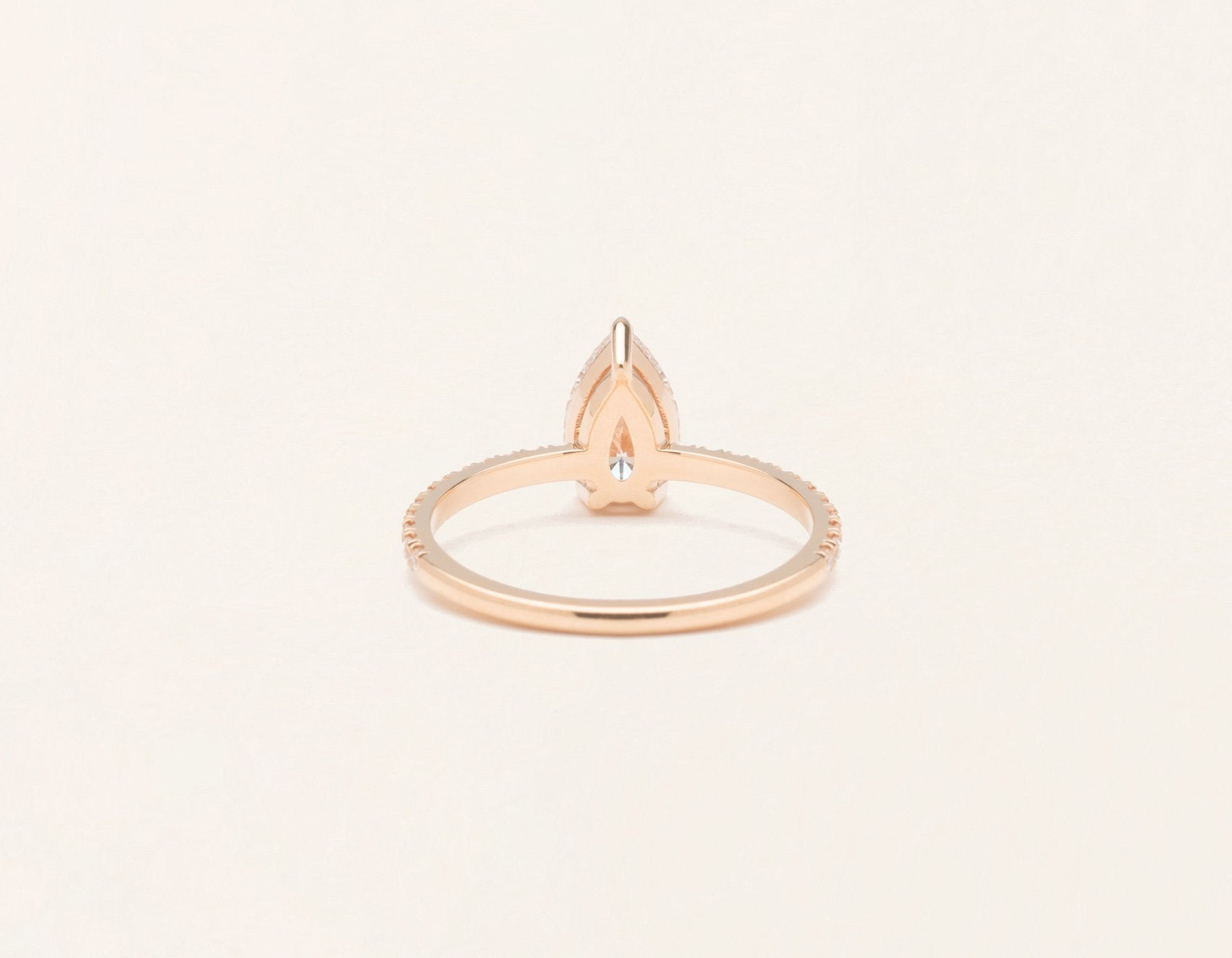 Simple modern 18k solid rose gold 1 carat pear pave diamond engagement ring Vrai & Oro