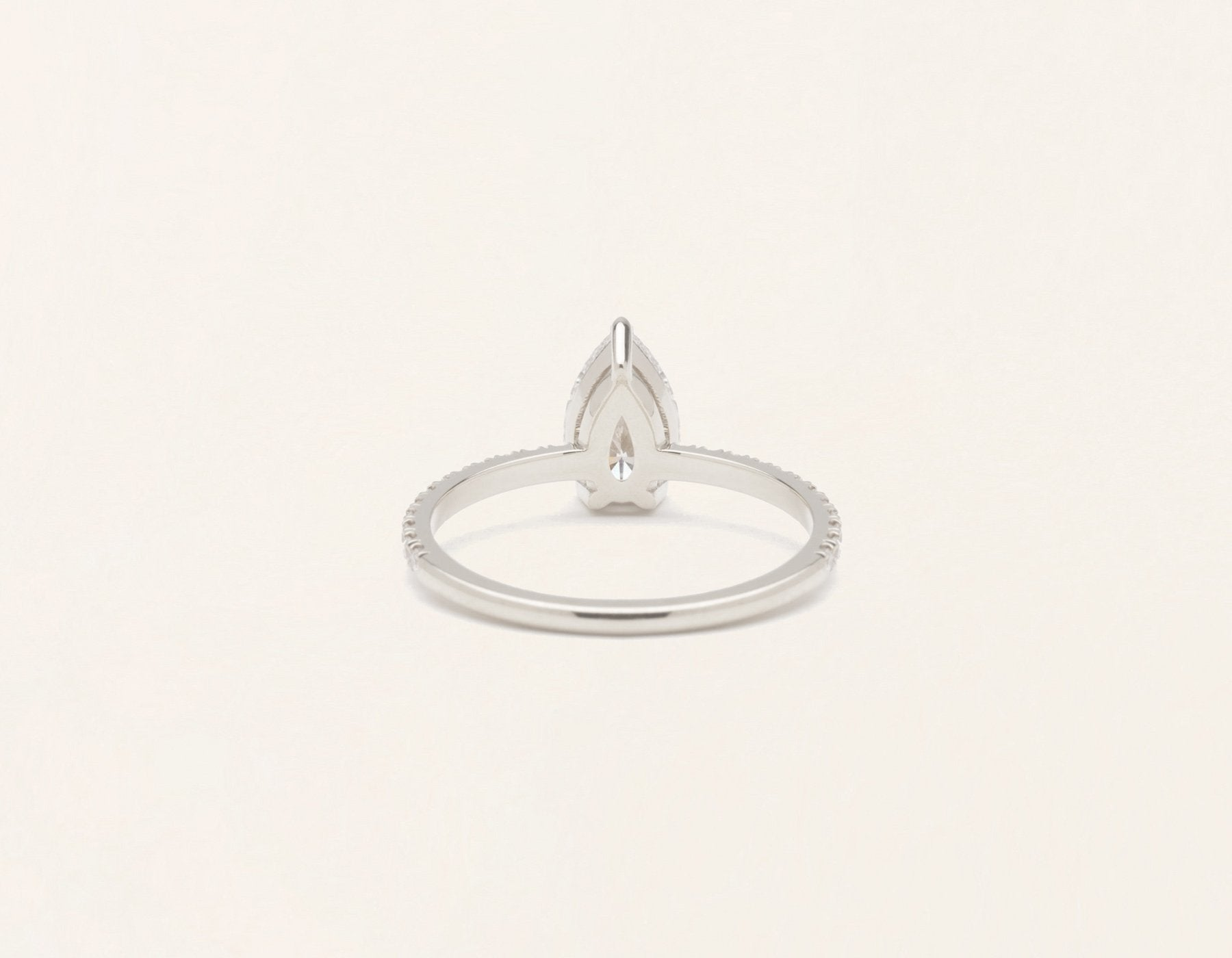 Simple modern 18k solid white gold 1 carat pear pave diamond engagement ring Vrai & Oro