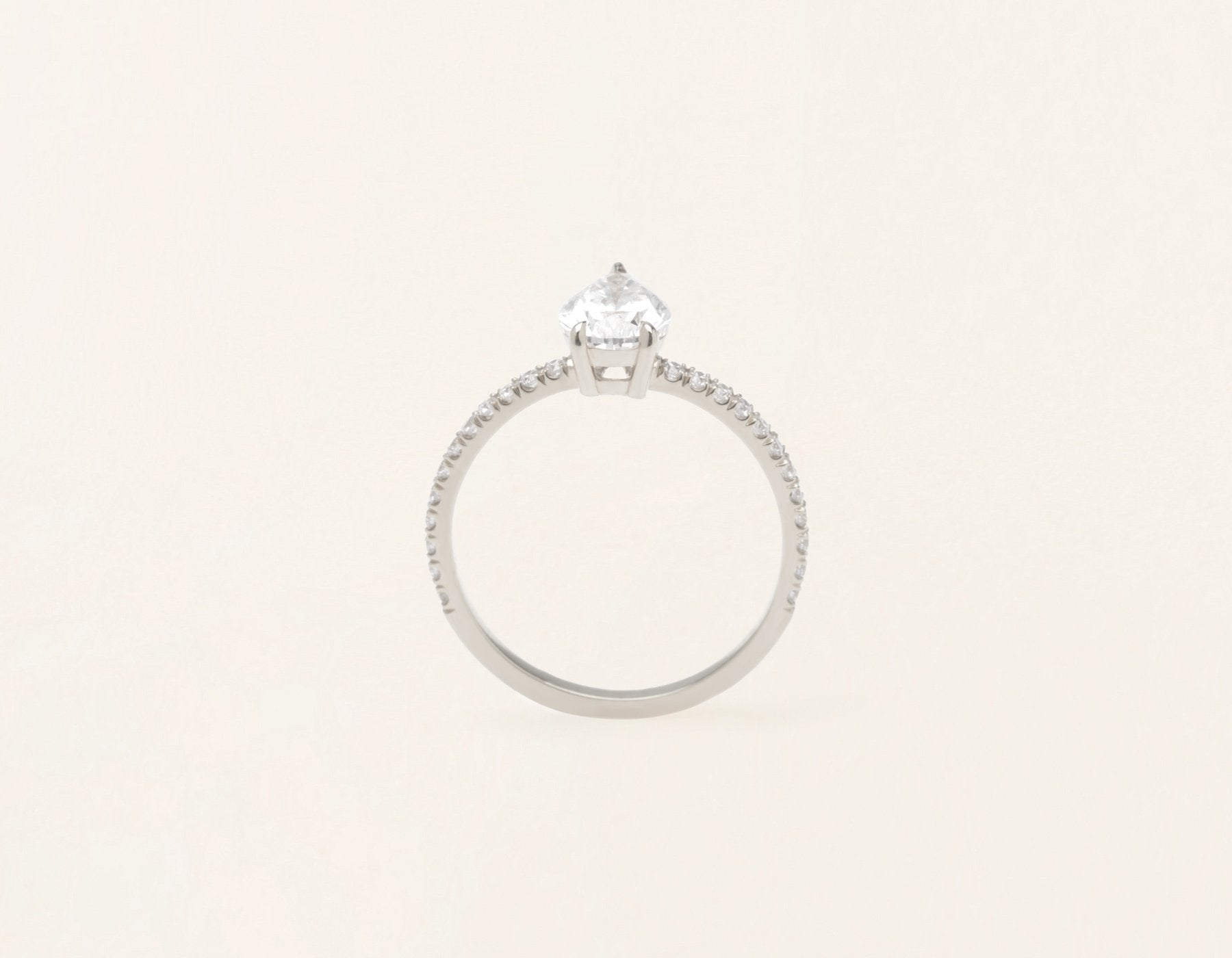 Vrai & Oro 18k solid white gold Diamond engagement ring The pear pave simple classic band