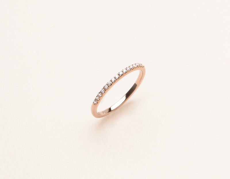 Modern elegant 14k solid gold Petite Diamond Pave Band Vrai and Oro minimalist jewelry, 14K Rose Gold