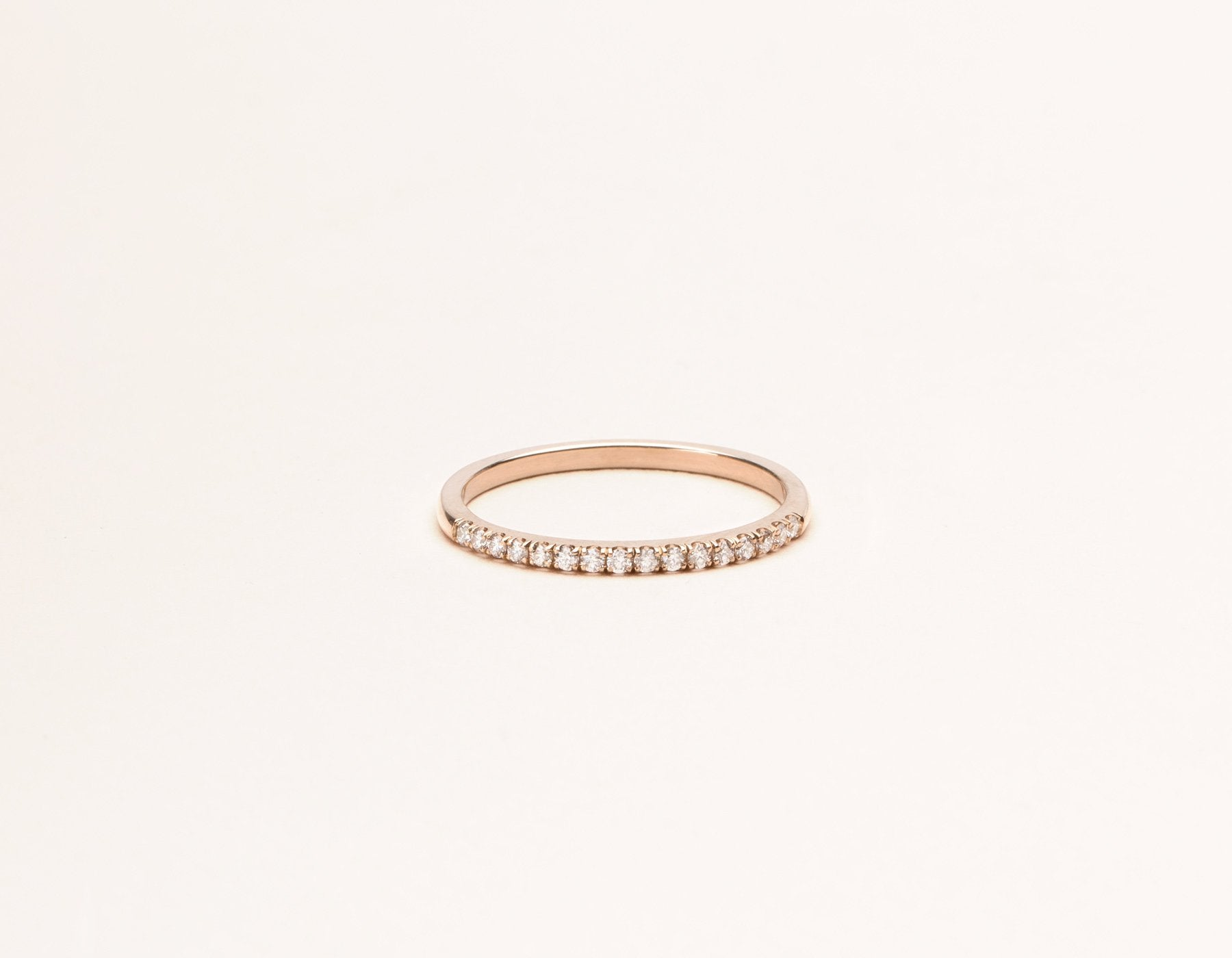 Classic minimalist Petite Diamond Pave Band ring 14k solid gold Vrai & Oro sustainable jewelry, 14K Rose Gold