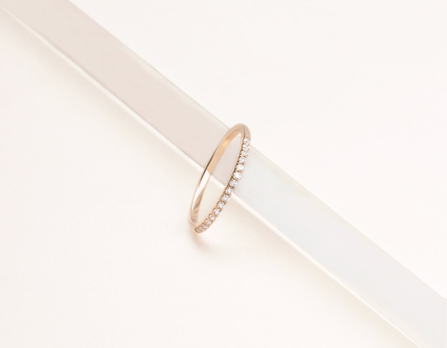 Simple classic 14k solid gold Petite White Diamond Band Vrai & Oro , 14K Rose Gold