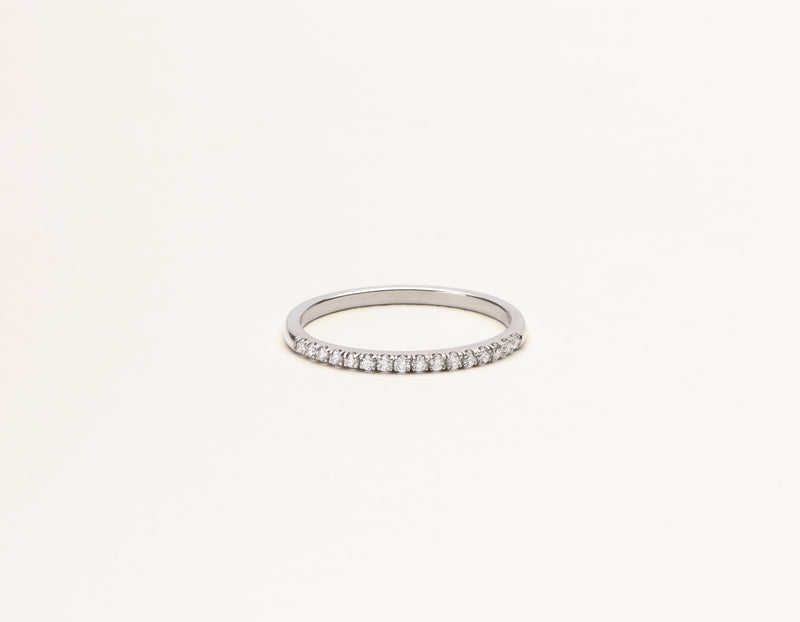 Classic minimalist Petite Diamond Pave Band ring 14k solid gold Vrai & Oro sustainable jewelry, 14K White Gold