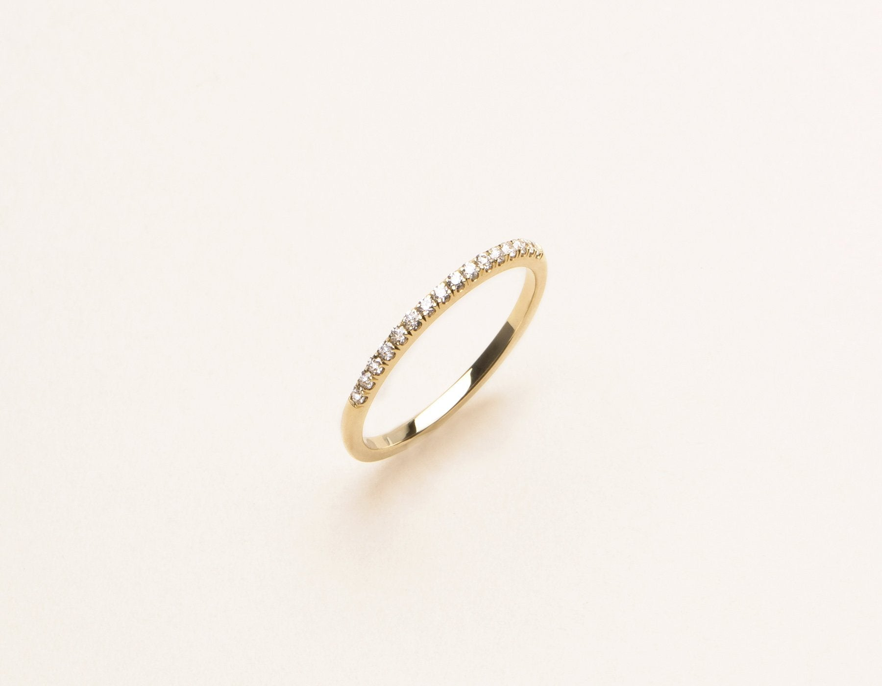 Classic minimalist Petite Diamond Pave Band ring 14k solid gold Vrai & Oro sustainable jewelry, 14K Yellow Gold