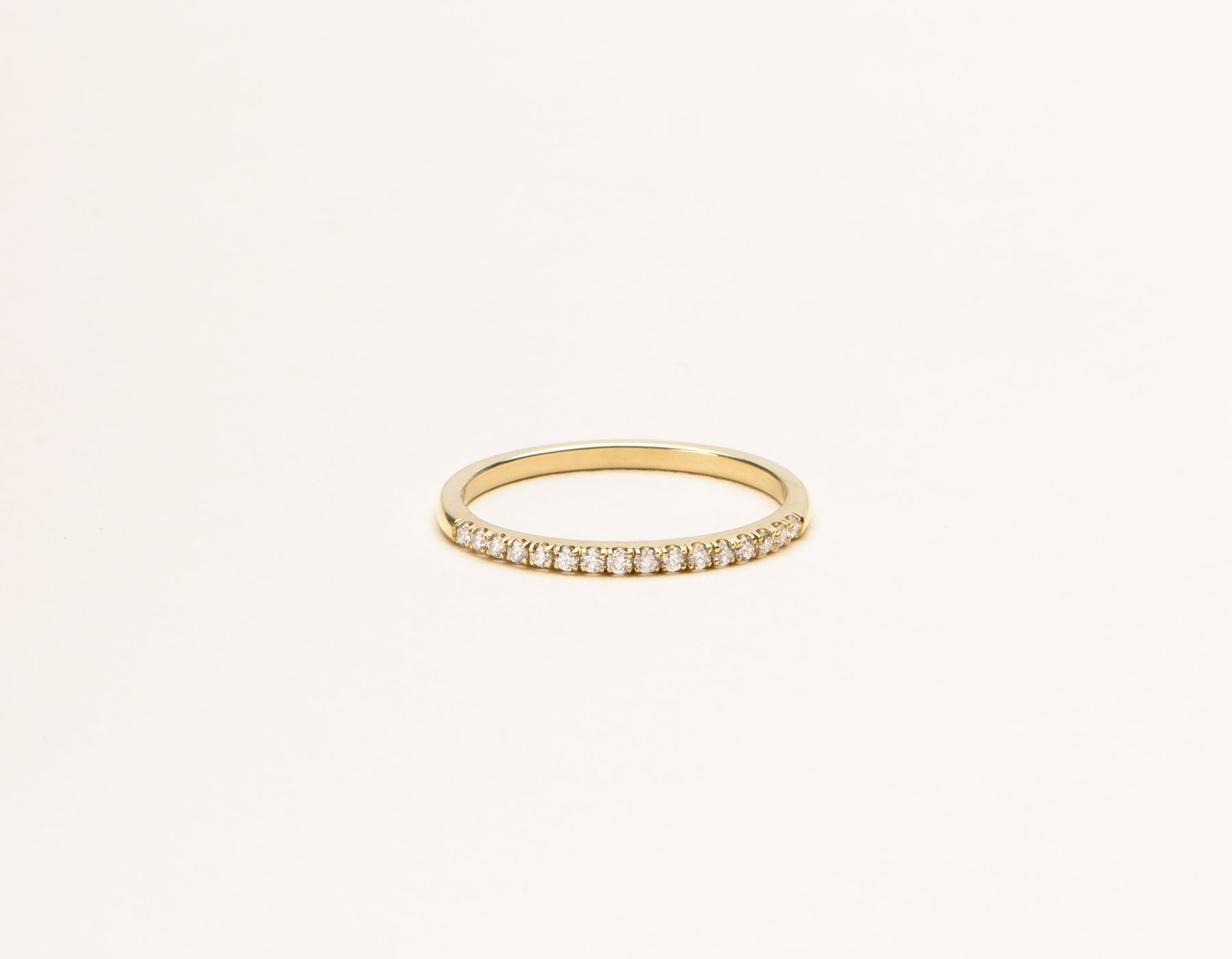 Modern elegant 14k solid gold Petite Diamond Pave Band Vrai and Oro minimalist jewelry, 14K Yellow Gold