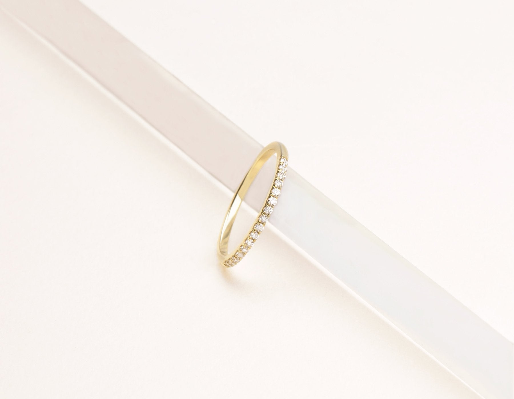 Simple classic 14k solid gold Petite White Diamond Band Vrai & Oro , 14K Yellow Gold