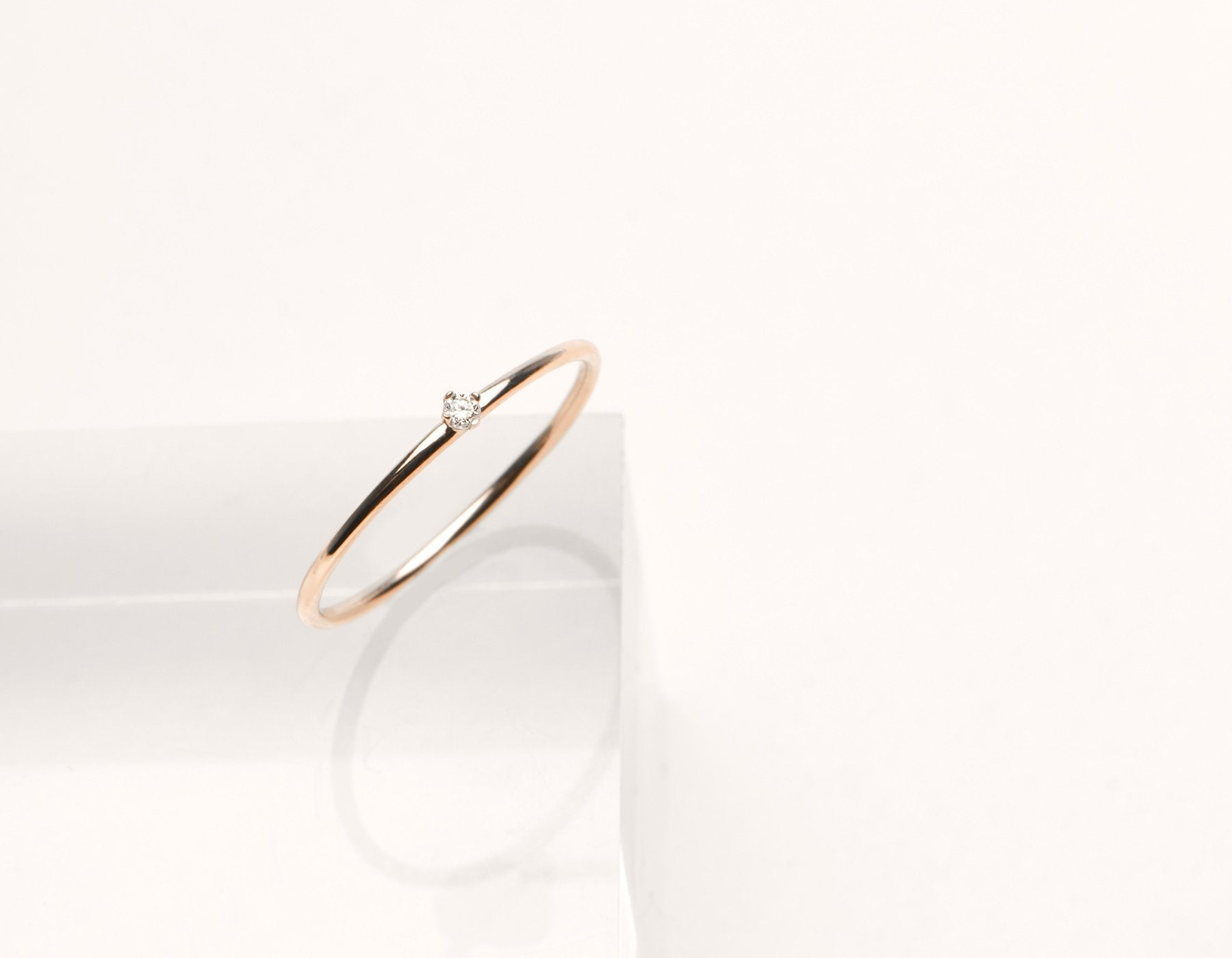 Modern minimalist Round White Diamond stacker ring Vrai & Oro 14k solid gold, 14K Rose Gold