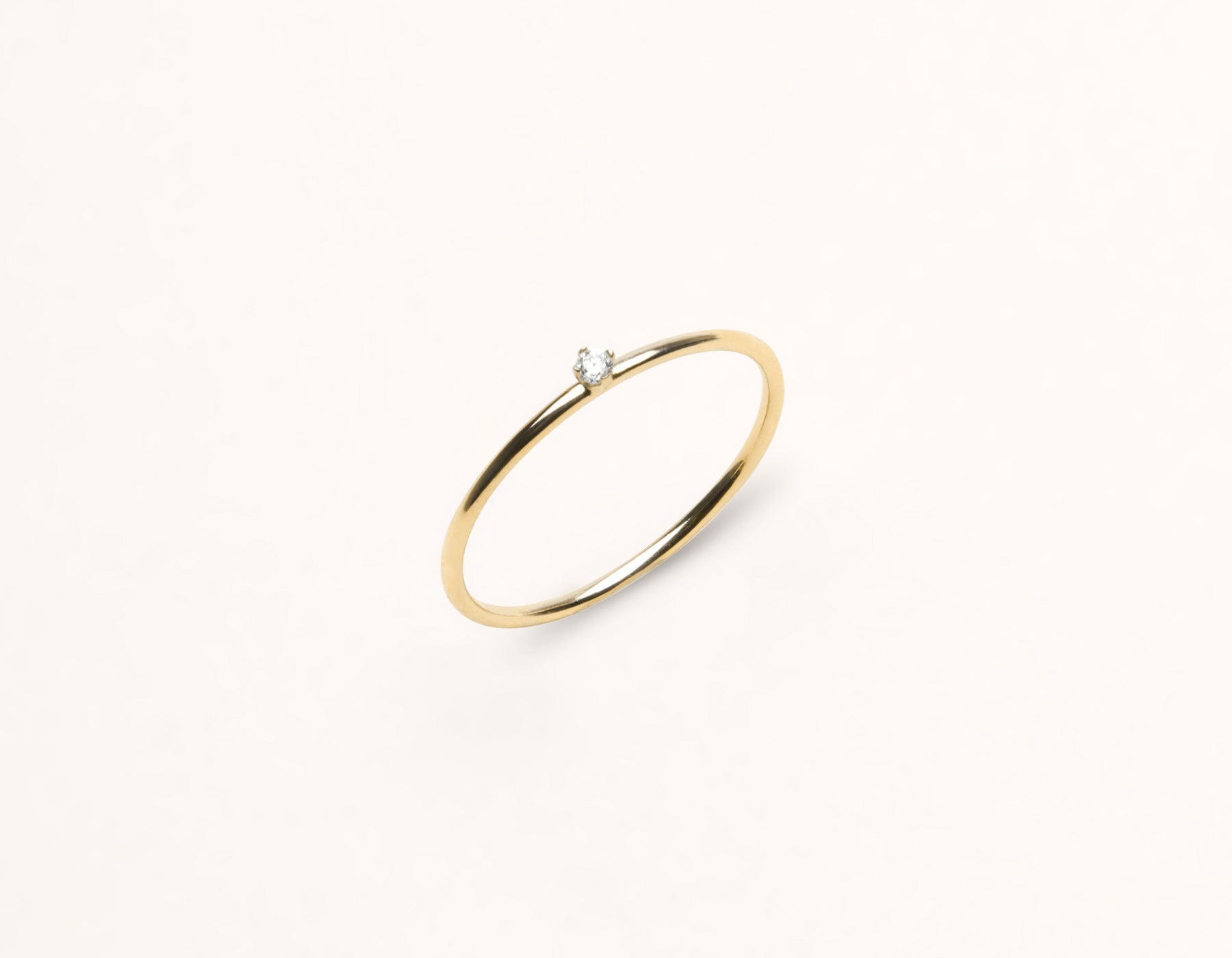 Simple modern 14k solid gold Round Diamond stacking ring by Vrai & Oro, 14K Yellow Gold