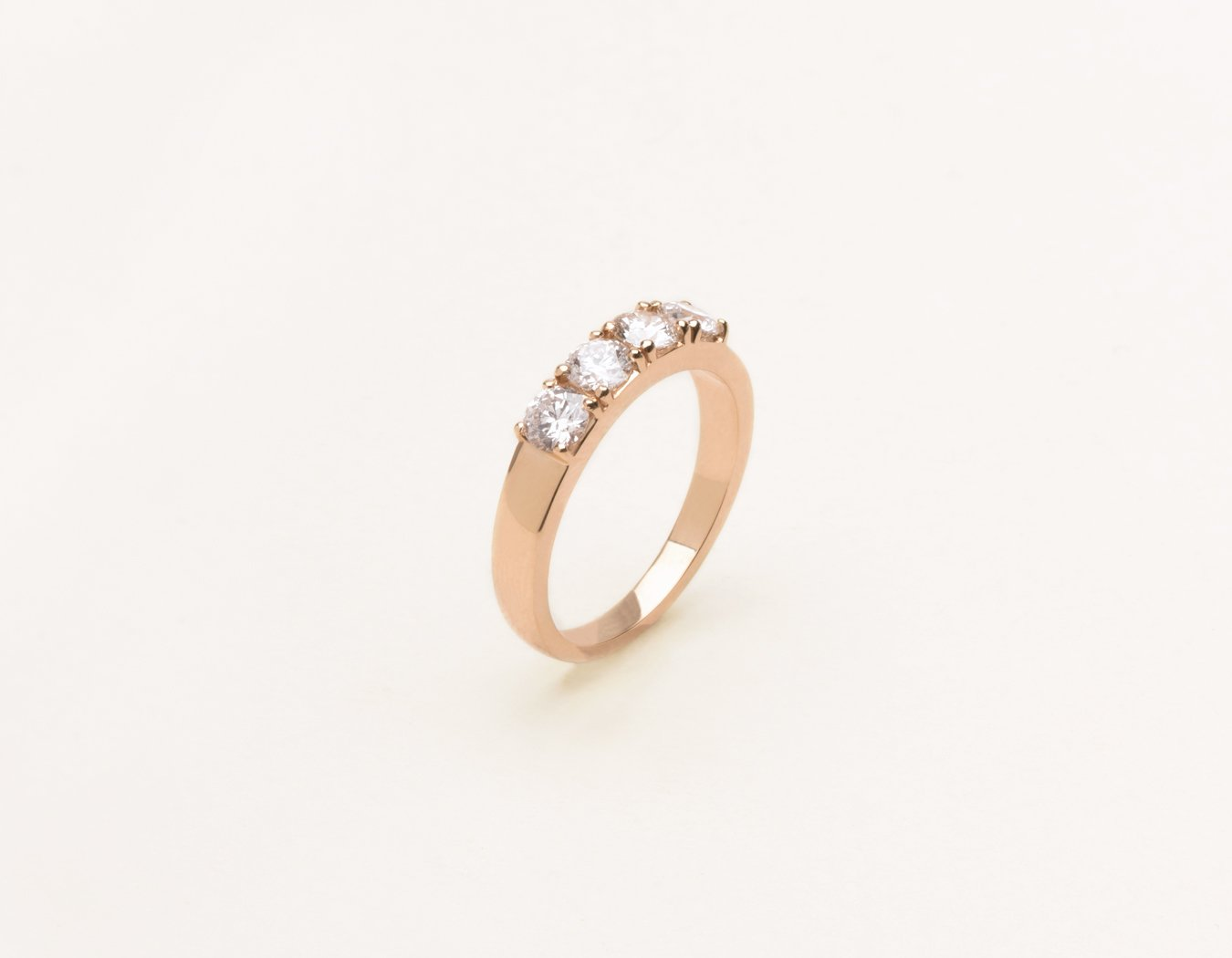 Simple elegant 14k solid gold Round Tetrad Band diamond ring by Vrai and Oro minimalist jewelry, 14K Rose Gold