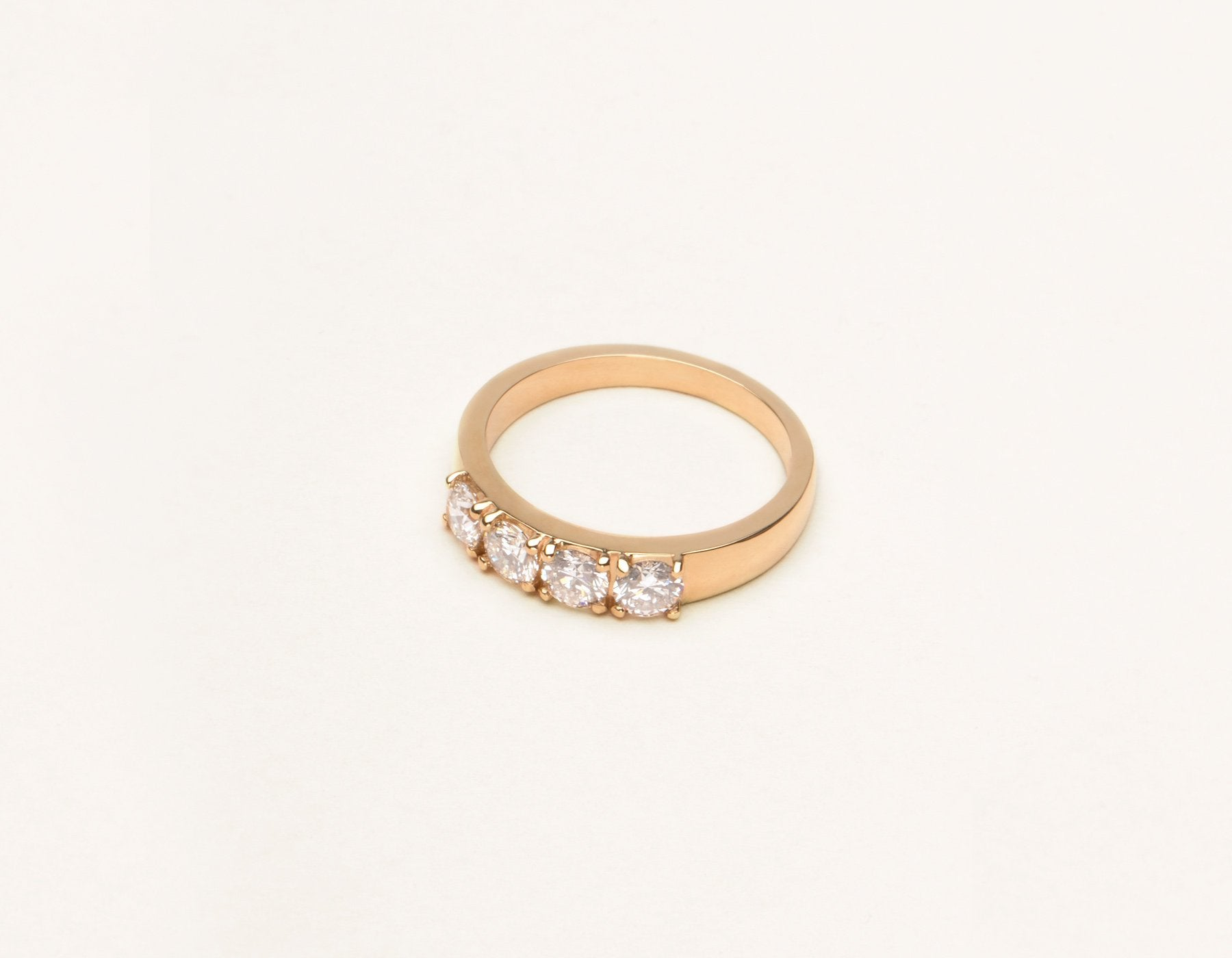 Classic minimalist 14k solid gold Round brilliant cut Diamond Tetrad Band by Vrai & Oro sustainable jewelry, 14K Rose Gold