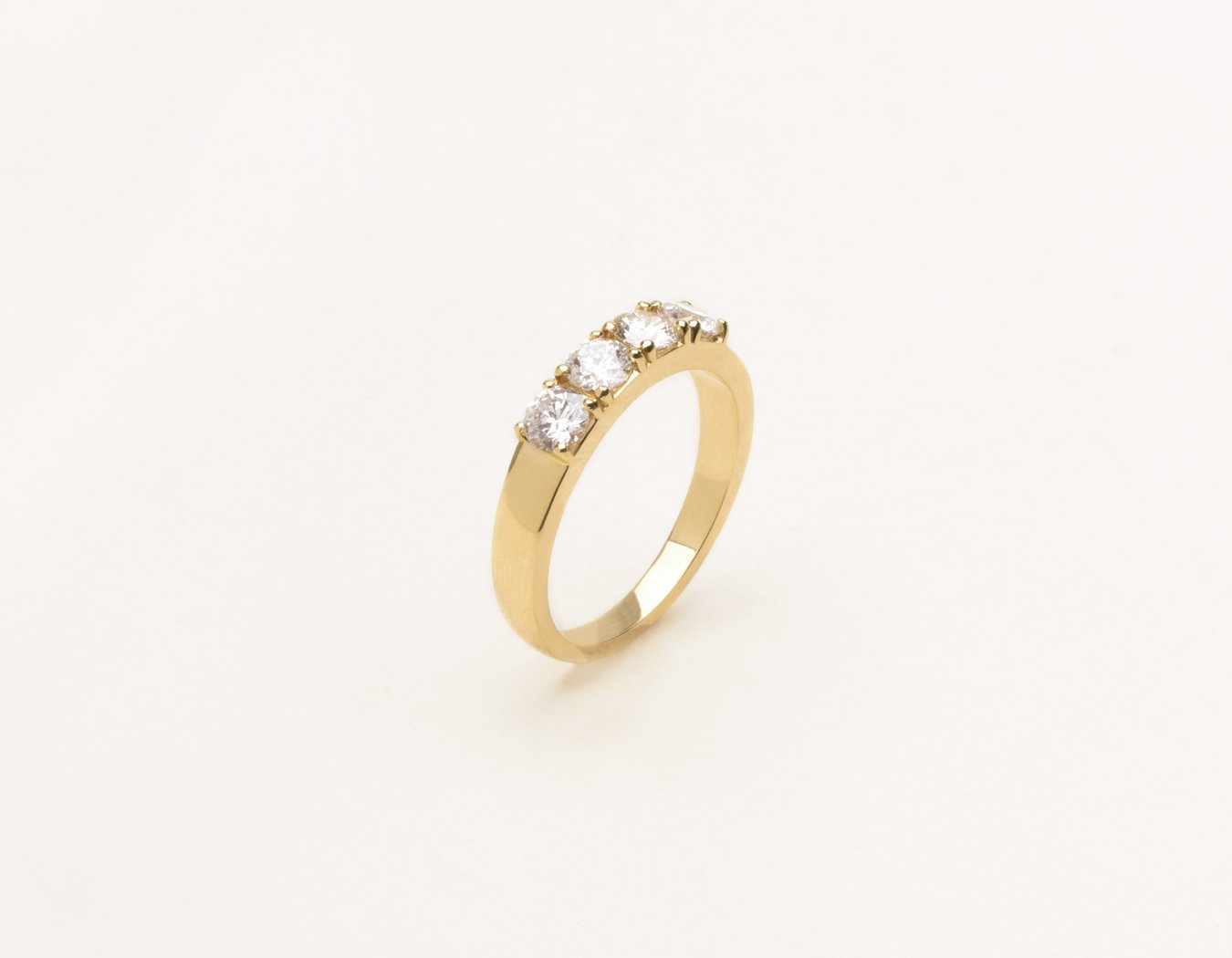 Simple elegant 14k solid gold Round Tetrad Band diamond ring by Vrai and Oro minimalist jewelry, 14K Yellow Gold