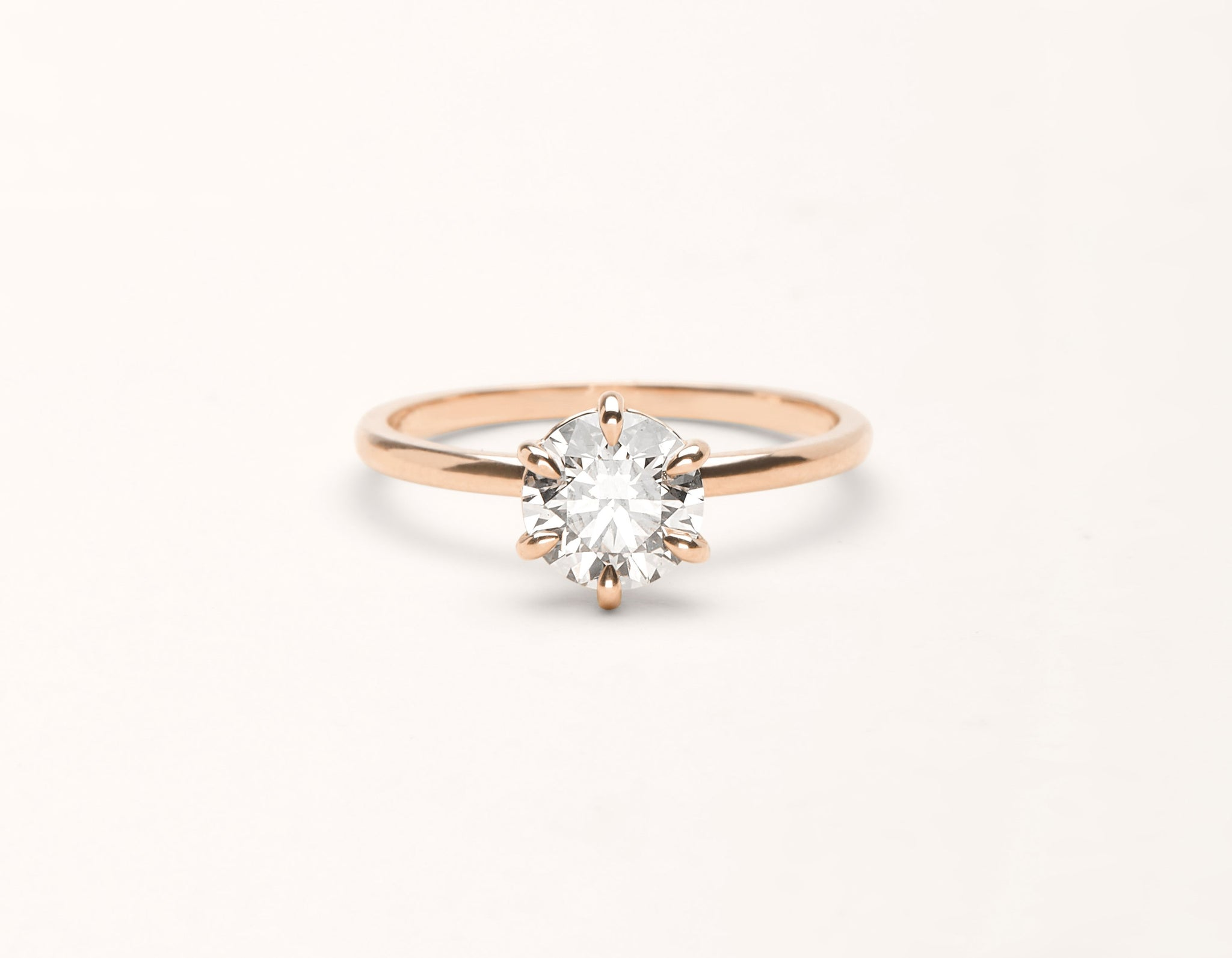 Minimalist 18k solid rose gold The Solitaire engagement ring round brilliant cut 1 ct diamond Vrai and Oro