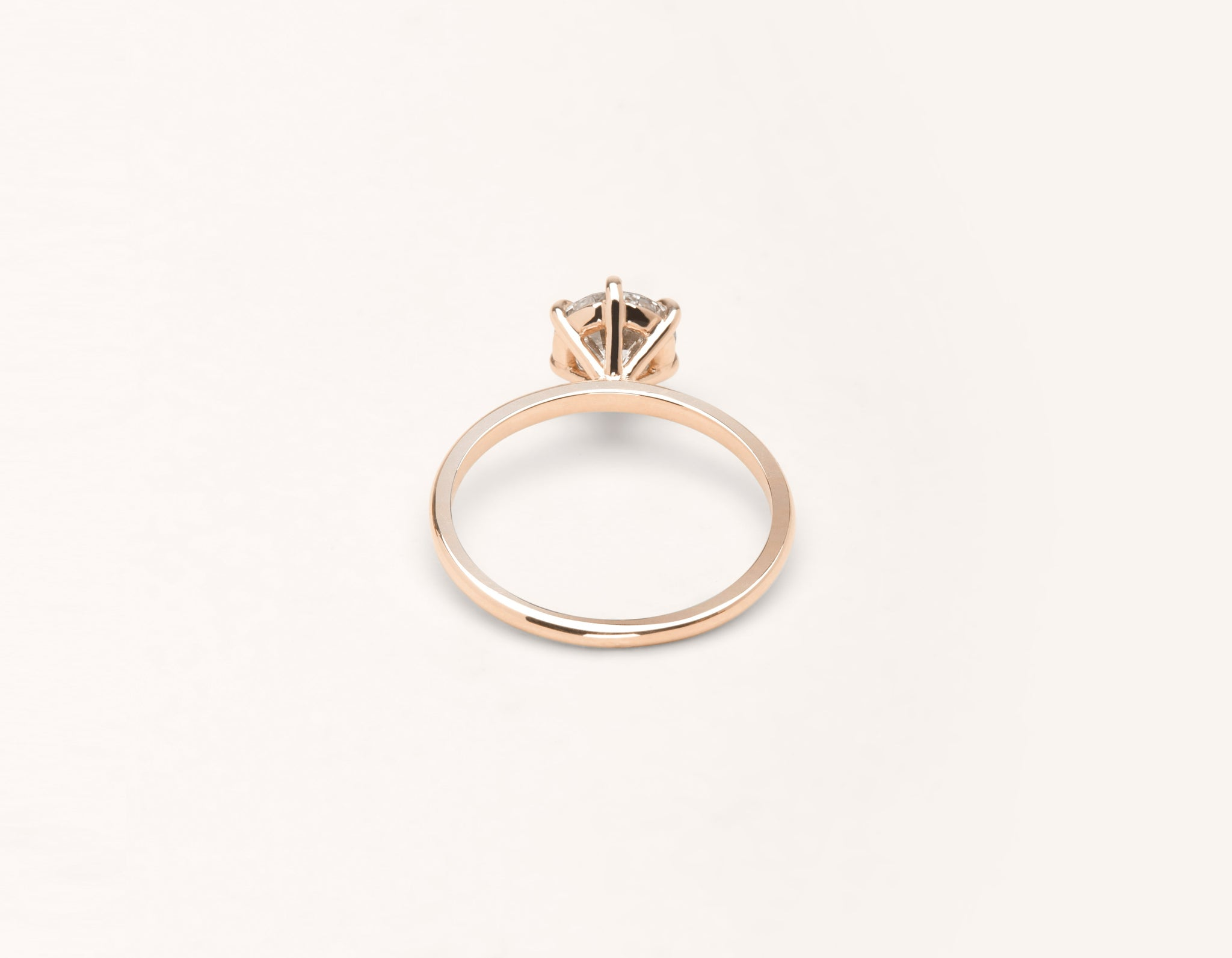 Vrai & Oro 18k solid rose gold Diamond engagement ring The Solitaire simple classic band 6 prong setting