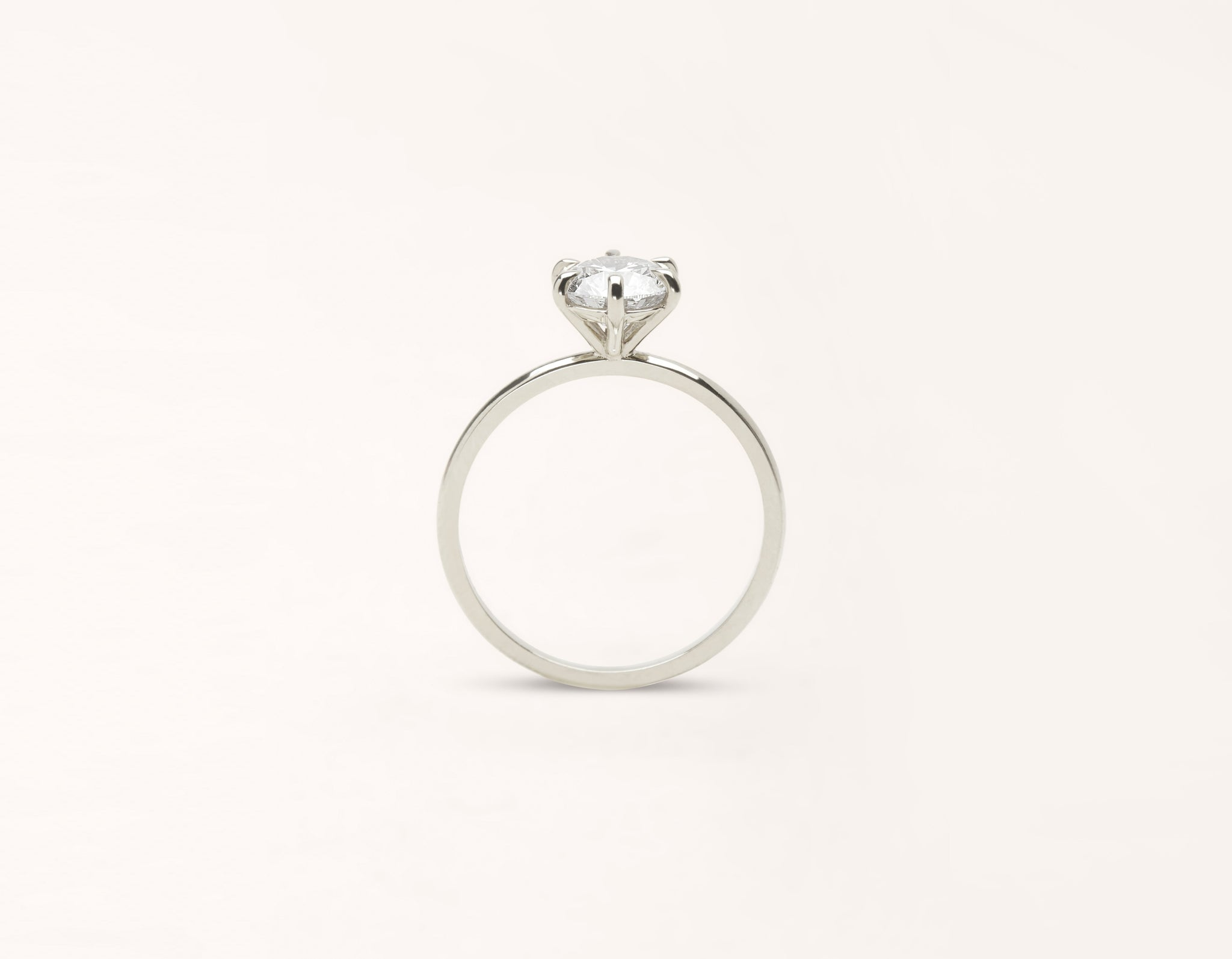 Vrai and Oro classic The Solitaire diamond engagement ring 18k solid white gold sustainable jewelry