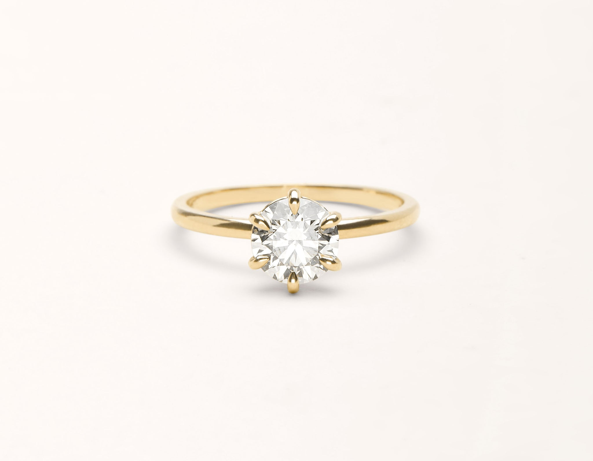 Minimalist 18k solid yellow gold The Solitaire engagement ring round brilliant cut 1 ct diamond Vrai and Oro