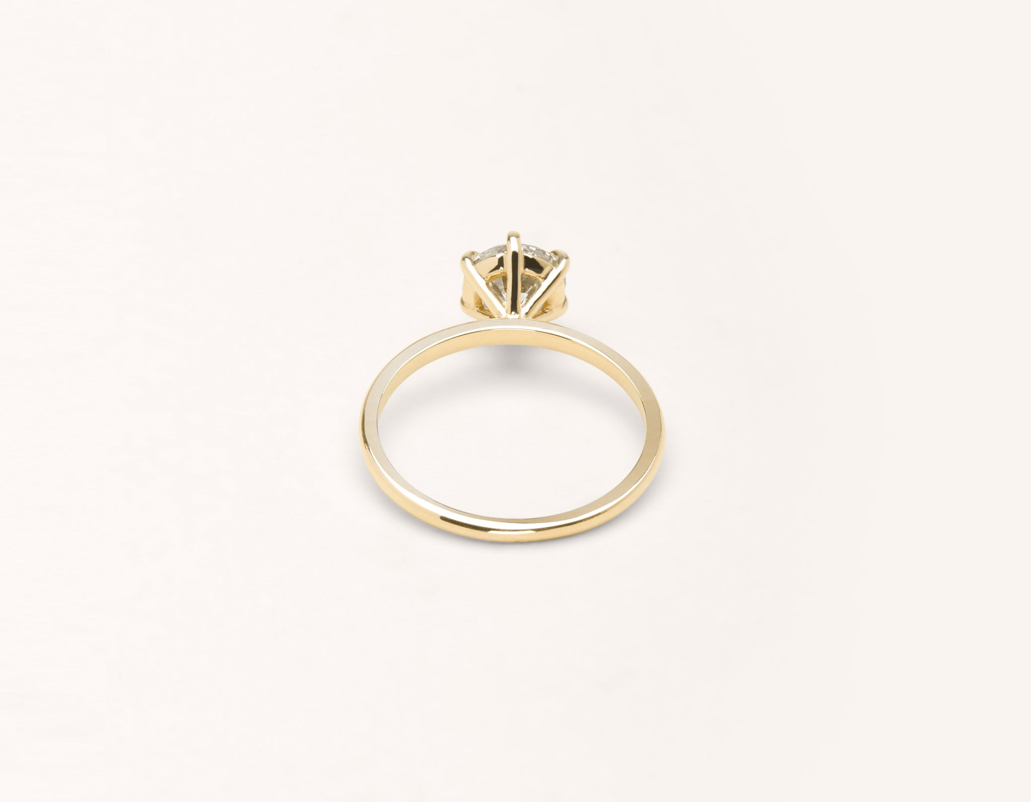 Vrai & Oro 18k solid yellow gold Diamond engagement ring The Solitaire simple classic band 6 prong setting